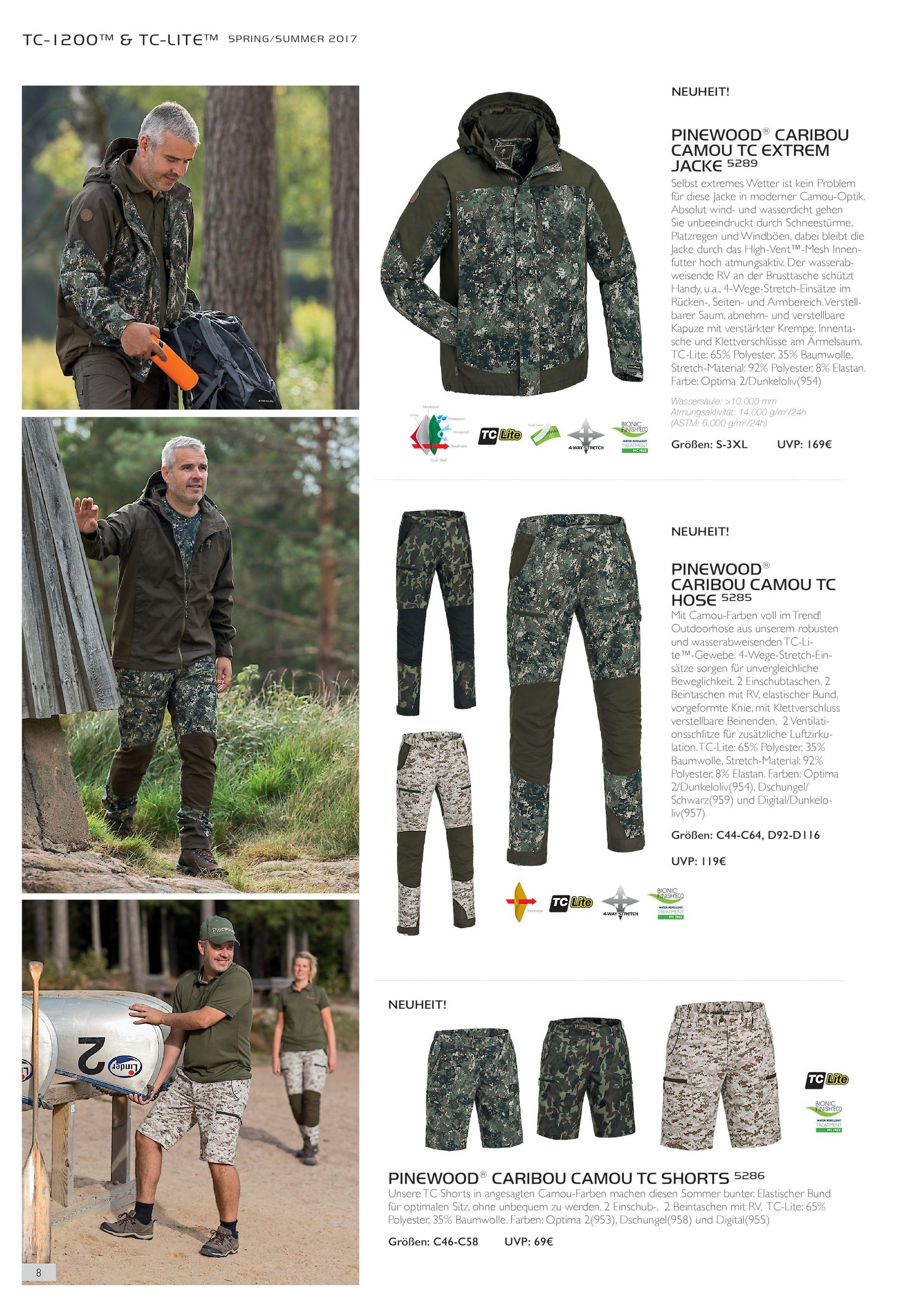 52 Outdoorhose wasserabweisend Pinewood Caribou Camou Digital TC-Lite Hose Gr