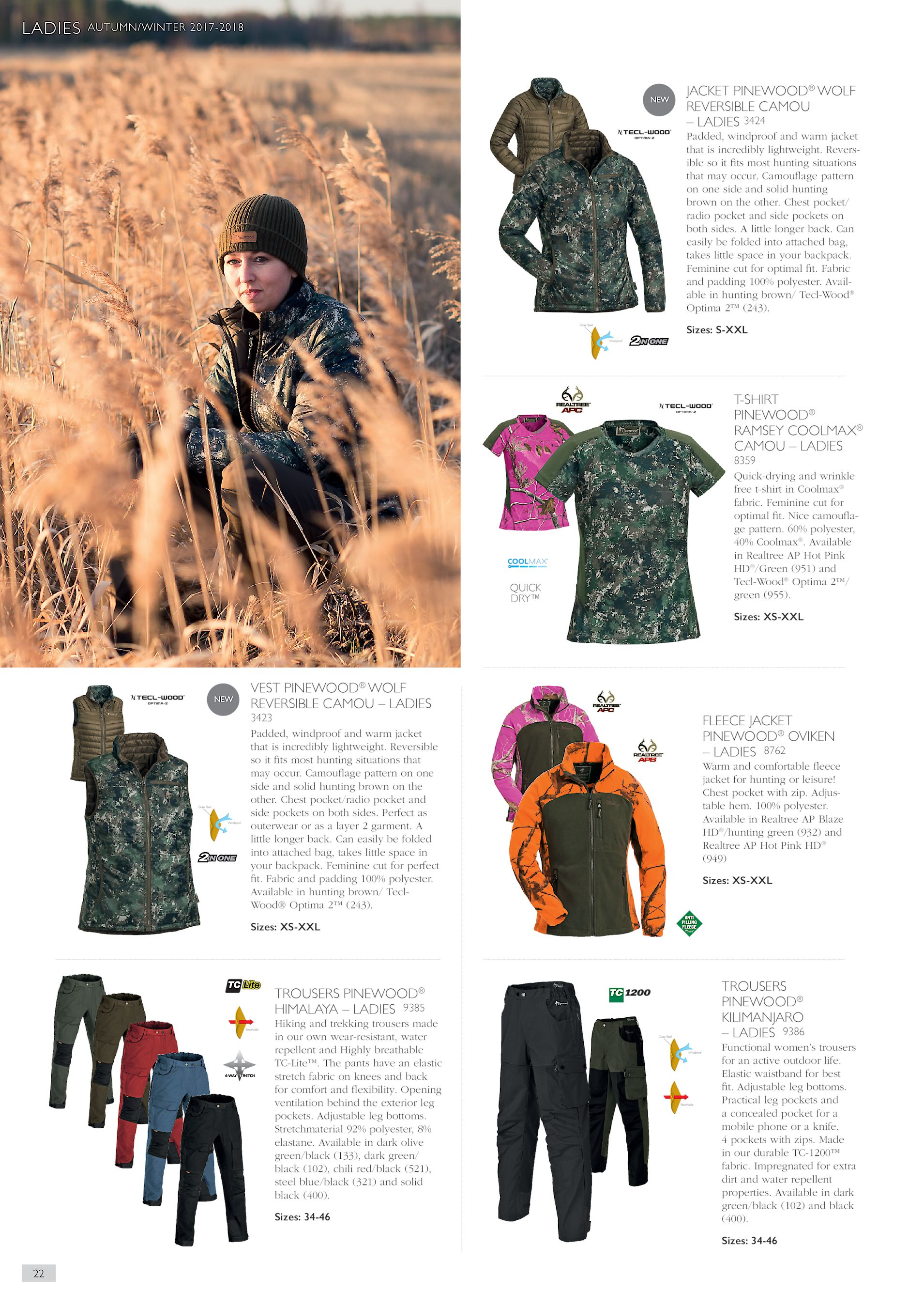20eb3e62fb091 LADIES AUTUMN/WINTER 2017-2018 JACKET PINEWOOD® WOLF REVERSIBLE CAMOU –  LADIES 3424 Padded, windproof and warm jacket that is incredibly  lightweight.