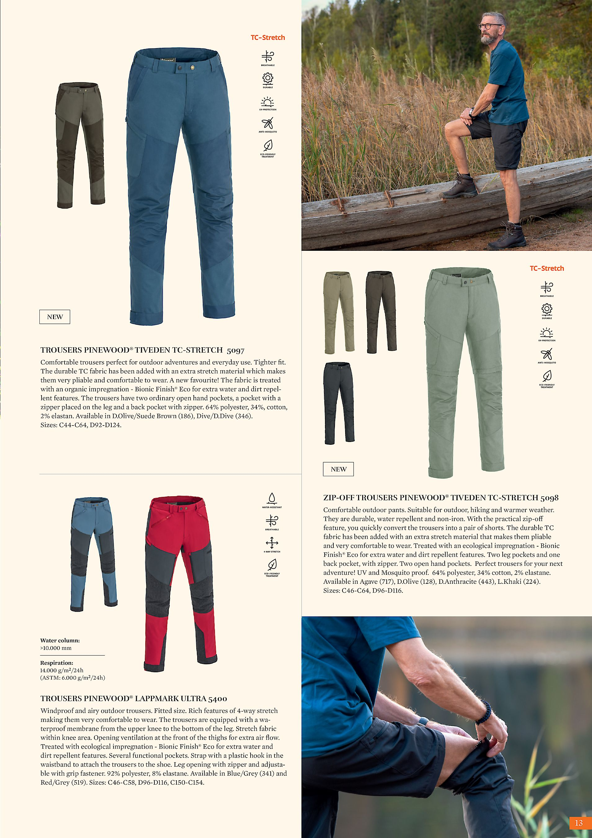 6d089e4955527 NEW TROUSERS PINEWOOD® TIVEDEN TC-STRETCH 5097 Comfortable trousers perfect  for outdoor adventures and everyday use. Tighter fit. The durable TC fabric  has ...
