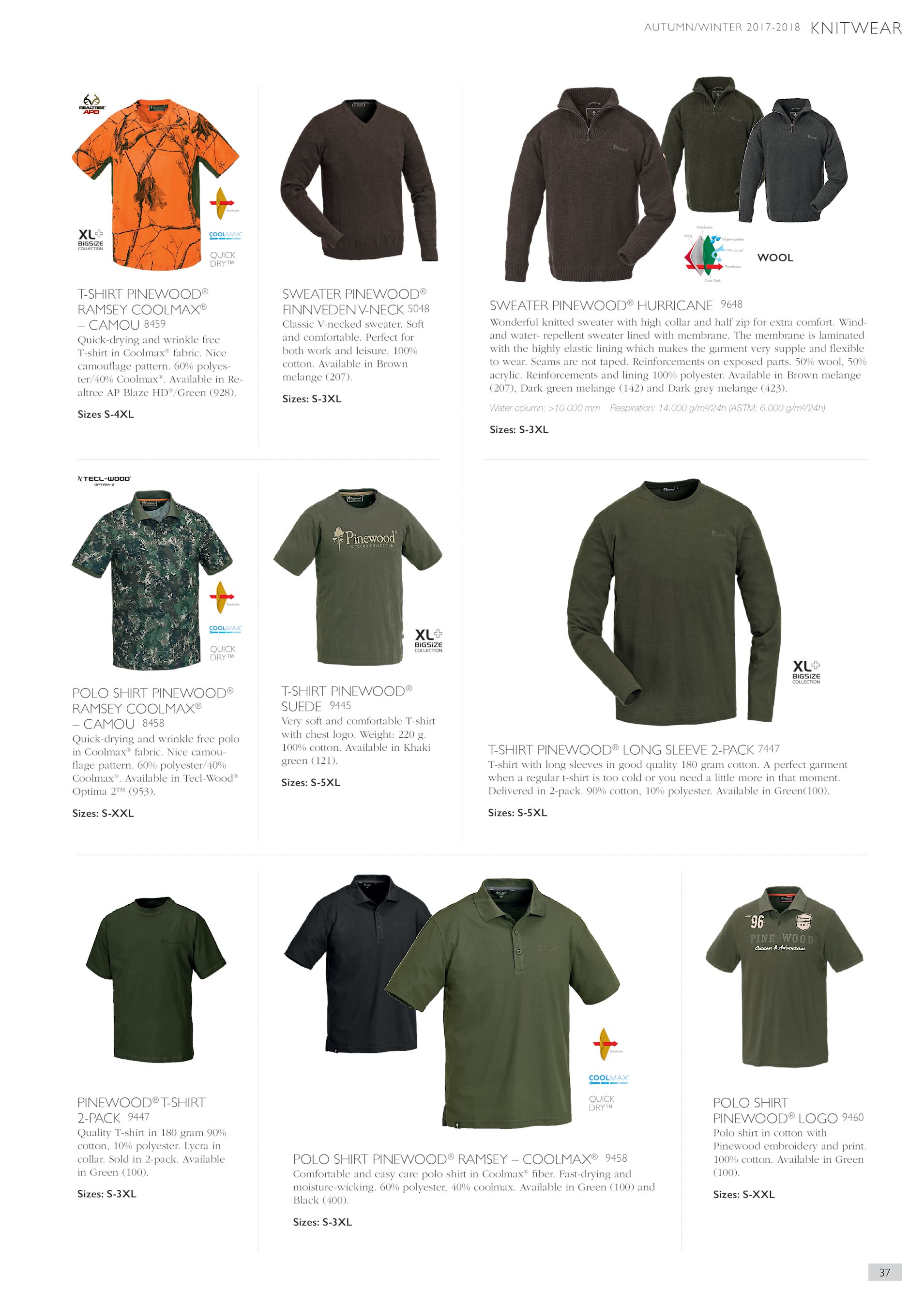 5d7f9ca06 AUTUMN WINTER 2017-2018 KNITWEAR QUICK DRY™ T-SHIRT PINEWOOD® RAMSEY  COOLMAX® – CAMOU 8459 SWEATER PINEWOOD® FINNVEDEN V-NECK 5048 Quick-drying  and wrinkle ...