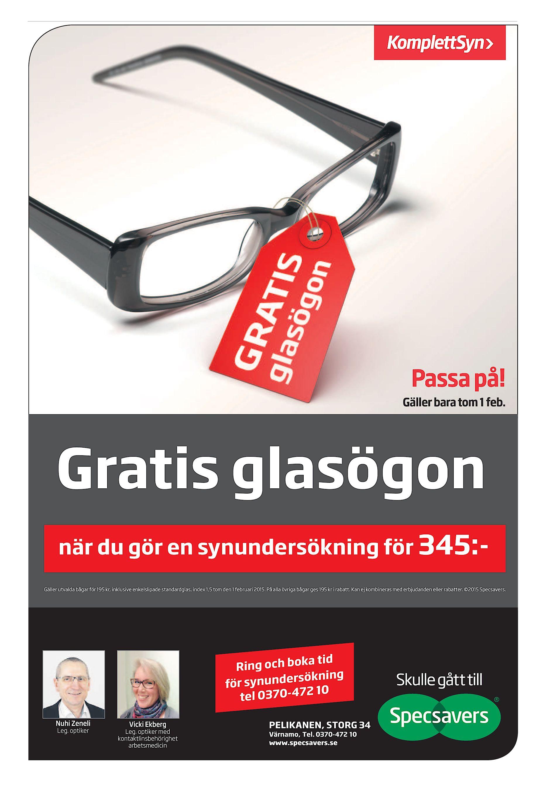 Gäller bara tom 1 feb. Gratis glasögon när du gör en synundersökning för  345 Gäller utvalda bågar för 195 kr 6e662a9ca27bb