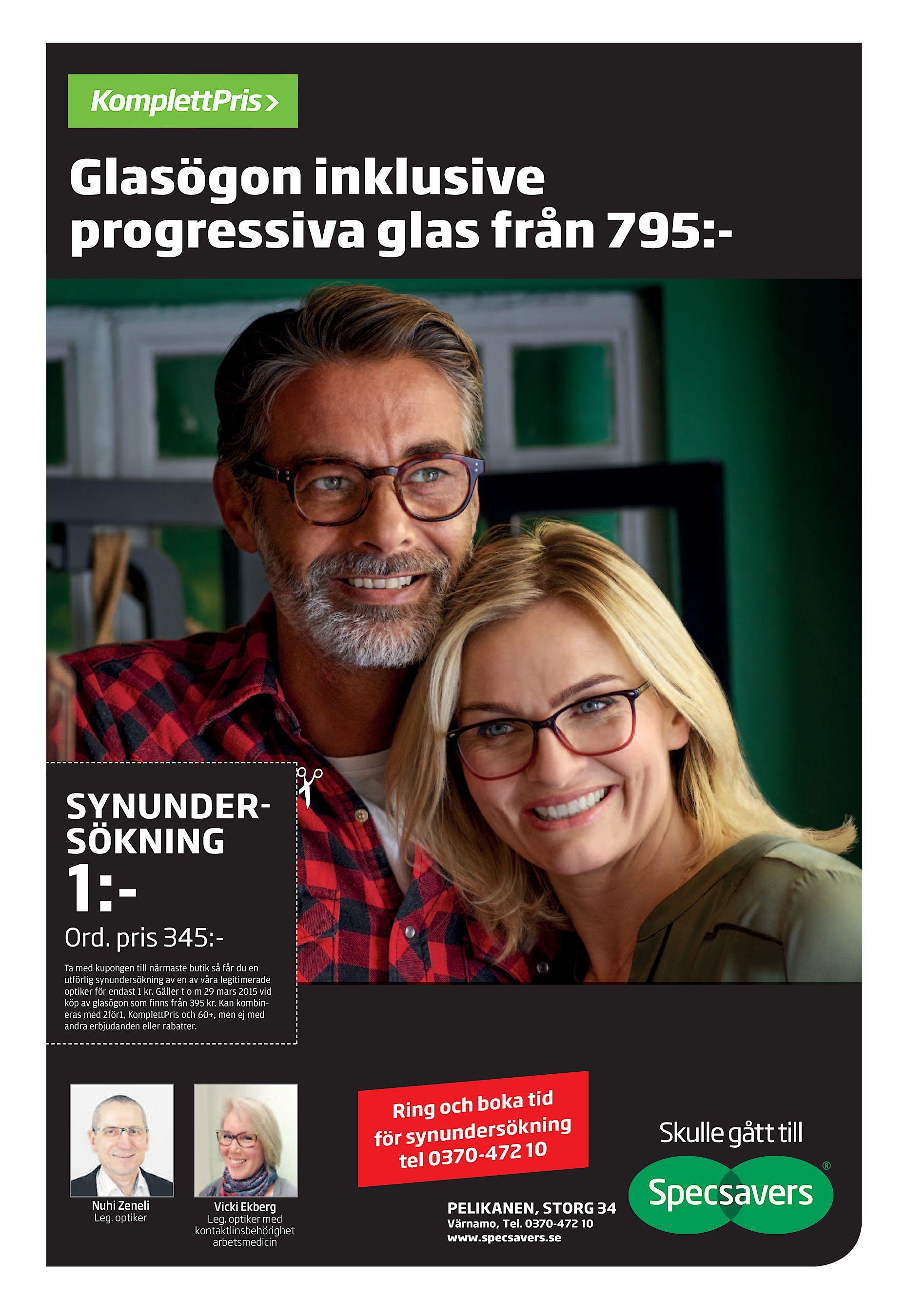 Glasögon inklusive progressiva glas från 795 - SYNUNDERSÖKNING 1 - Ord.  pris 345 Ta med kupongen till närmaste butik så får du en utförlig  synundersökning ... e6adf8f4b16ab