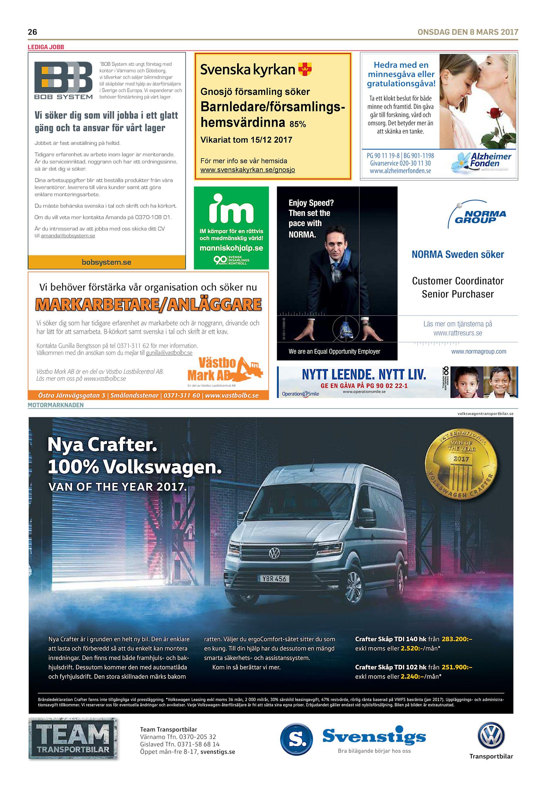 """official photos d5661 f310f 26 ONSDAG DEN 8 MARS 2017 LEDIGA JOBB """"BOB System ett ungt företag med  kontor i Värnamo och Göteborg, vi tillverkar och säljer bilinredningar till  skåpbilar ..."""