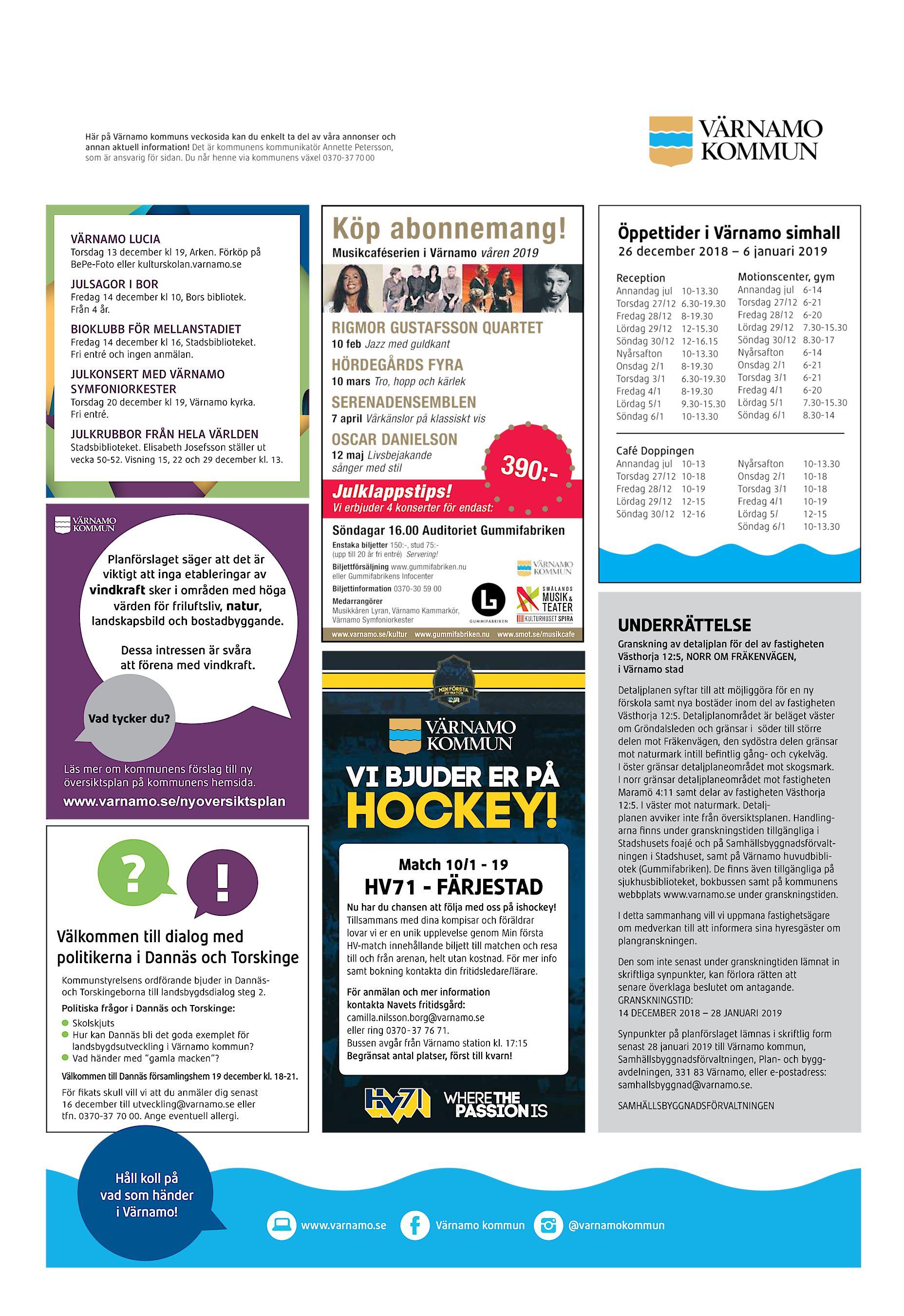 ef630626622 Här på Värnamo kommuns veckosida kan du enkelt ta del av våra annonser och  annan aktuell information! Det är kommunens kommunikatör Annette Petersson,  ...