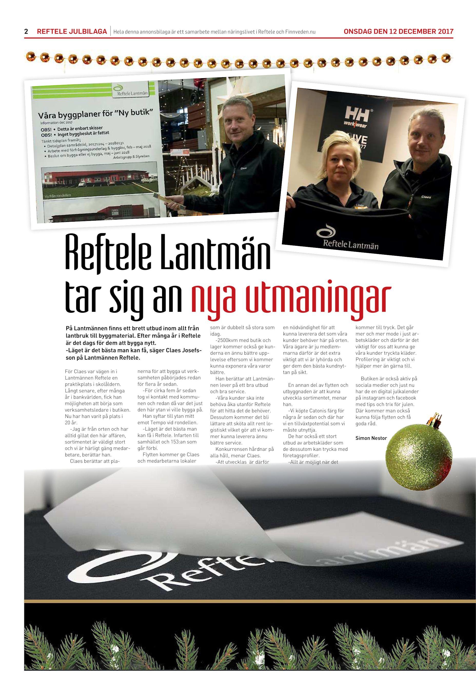 ec5e84ce56f1 2 REFTELE JULBILAGA Hela denna annonsbilaga är ett samarbete mellan  näringslivet i Reftele och Finnveden.nu ONSDAG DEN 12 DECEMBER 2017 Reftele  Lantmän tar ...