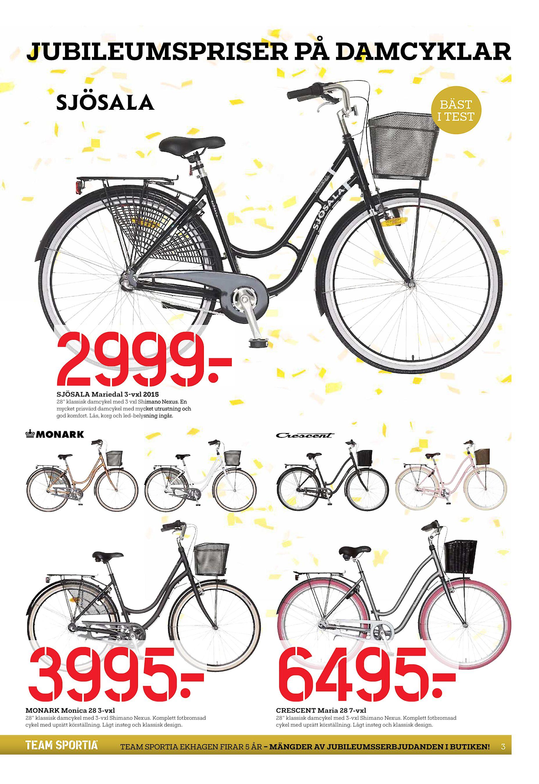 """newest ff5f5 8189d JUBILEUMSPRISER PÅ DAMCYKLAR BÄST I TEST 2999  SJÖSALA Mariedal 3-vxl 2015  28"""" klassisk damcykel med 3 vxl Shimano Nexus. En mycket prisvärd damcykel  med ..."""