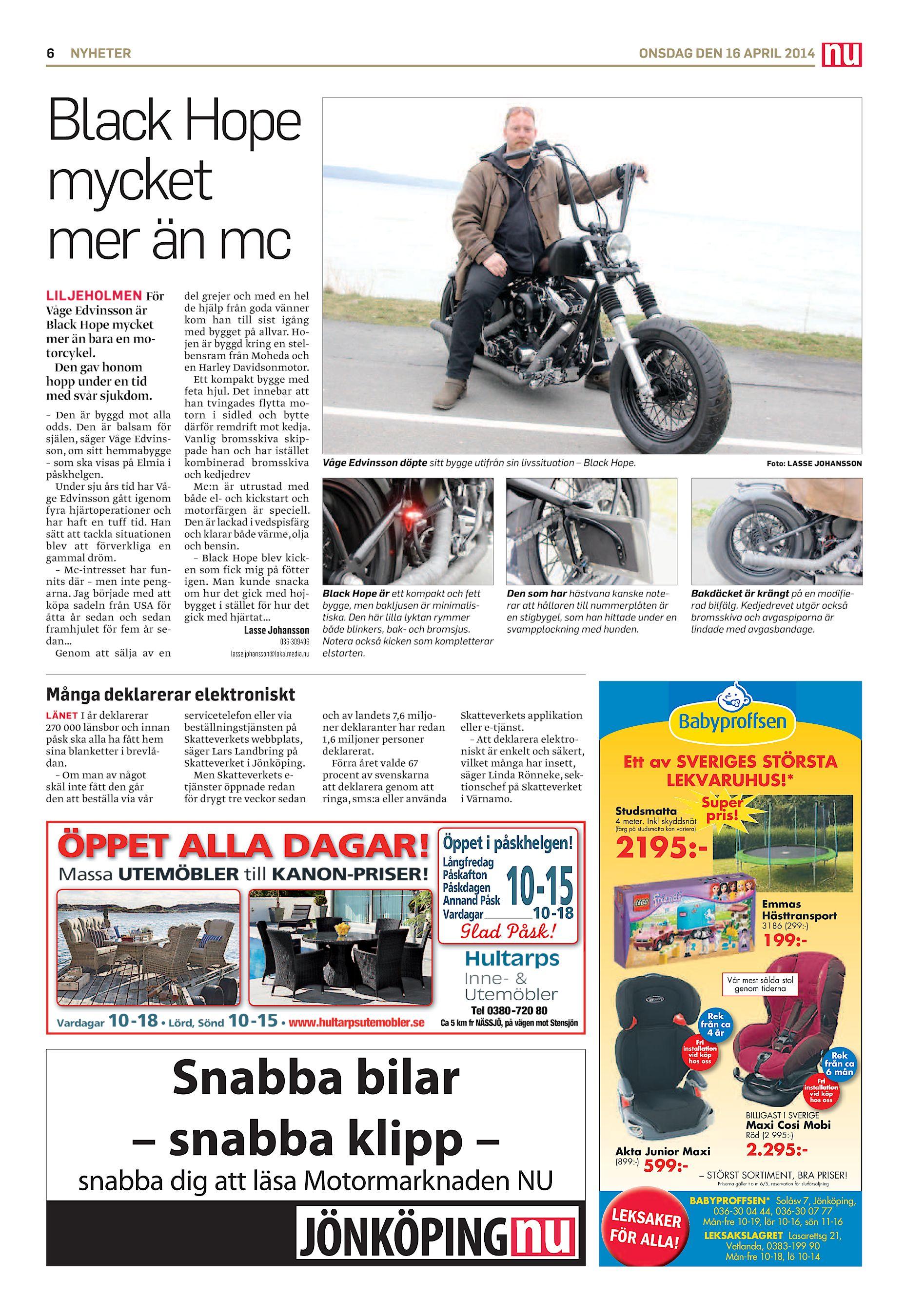 san francisco 1e396 3694d 6 NYHETER ONSDAG DEN 16 APRIL 2014 Black Hope mycket mer än mc LILJEHOLMEN  För Våge Edvinsson är Black Hope mycket mer än bara en motorcykel.