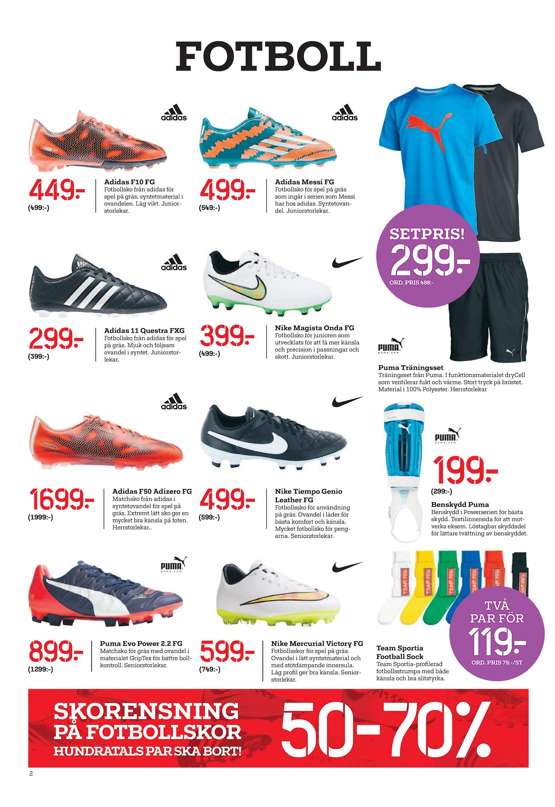super popular b43eb b93af FOTBOLL 449  (499 -) Adidas F10 FG Fotbollsko från adidas för spel på gräs,  syntetmaterial i ovandelen. Låg vikt. Juniorstorlekar. 499  (549 -) Adidas  Messi ...
