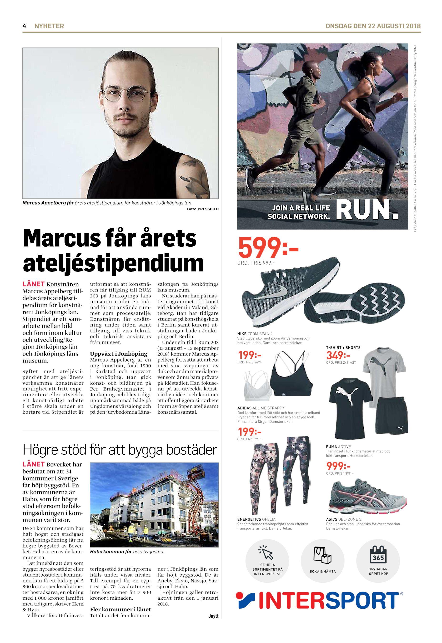 hot sale online f3d10 5f5f6 NYHETER ONSDAG DEN 22 AUGUSTI 2018 Marcus Appelberg får årets  ateljéstipendium för konstnärer i Jönköpings län. JOIN A REAL LIFE SOCIAL  NETWORK.
