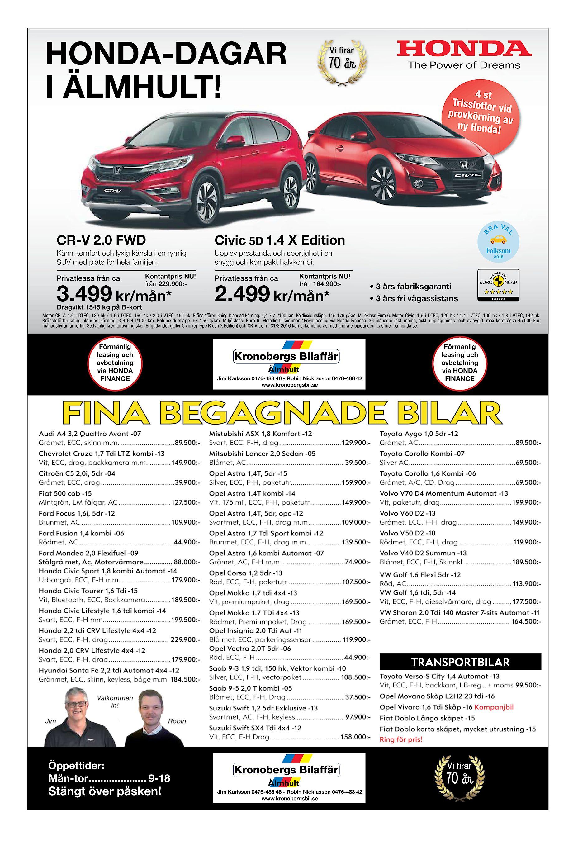 new arrival e2e61 dd337 Vi irar 70 år 4 st Trisslotter provkörnin vid ga ny Honda! v CR-V 2.0 FWD  Civic 5D 1.4 X Edition Känn komfort och lyxig känsla i en rymlig ...