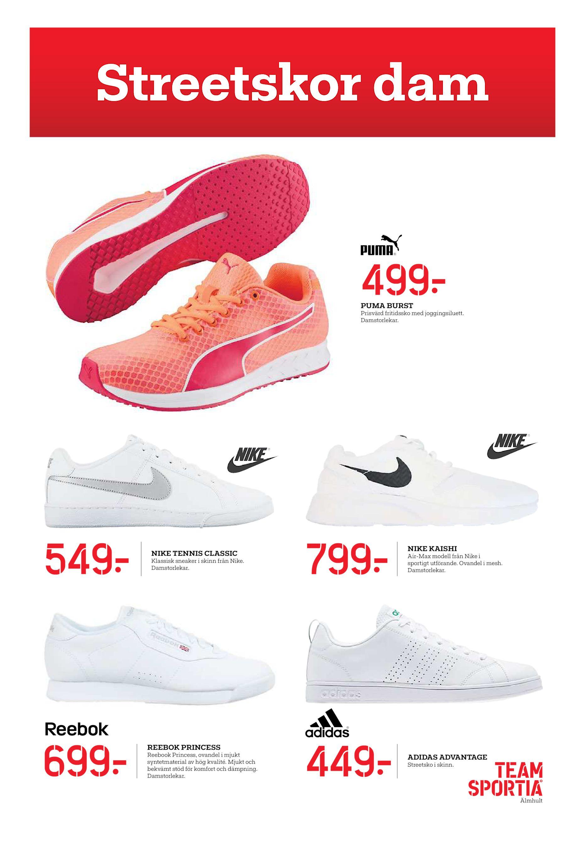 reputable site 7a12c 32158 Streetskor dam 499  PUMA BURST Prisvärd fritidssko med joggingsiluett.  Damstorlekar. 549  699  NIKE TENNIS CLASSIC Klassisk sneaker i skinn från  Nike.