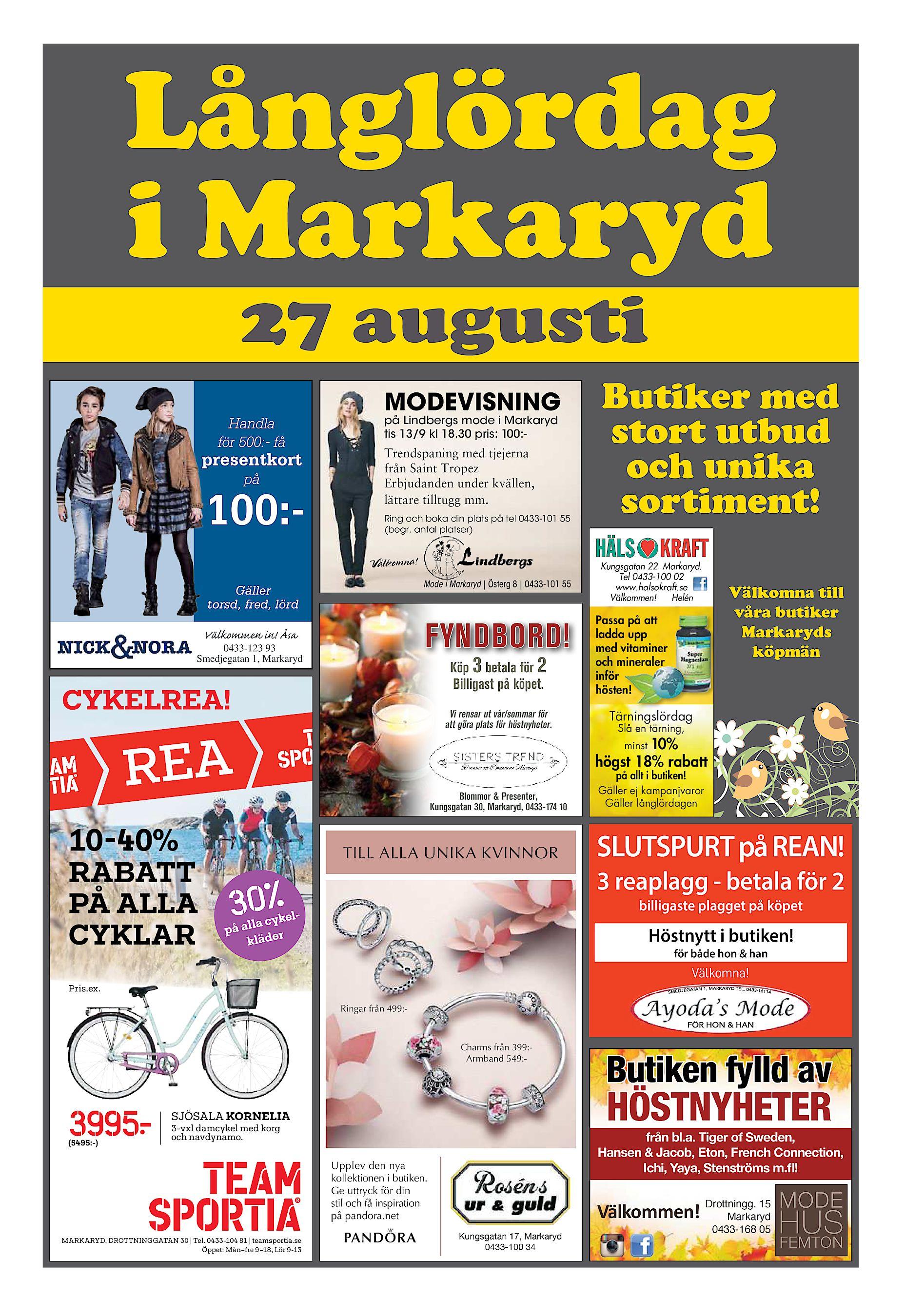 low cost d3c4b e104a Långlördag i Markaryd 27 augusti MODEVISNING på Lindbergs mode i Markaryd  tis 13 9 kl 18.30 pris  100 - Handla för 500 - få Trendspaning med tjejerna  från ...
