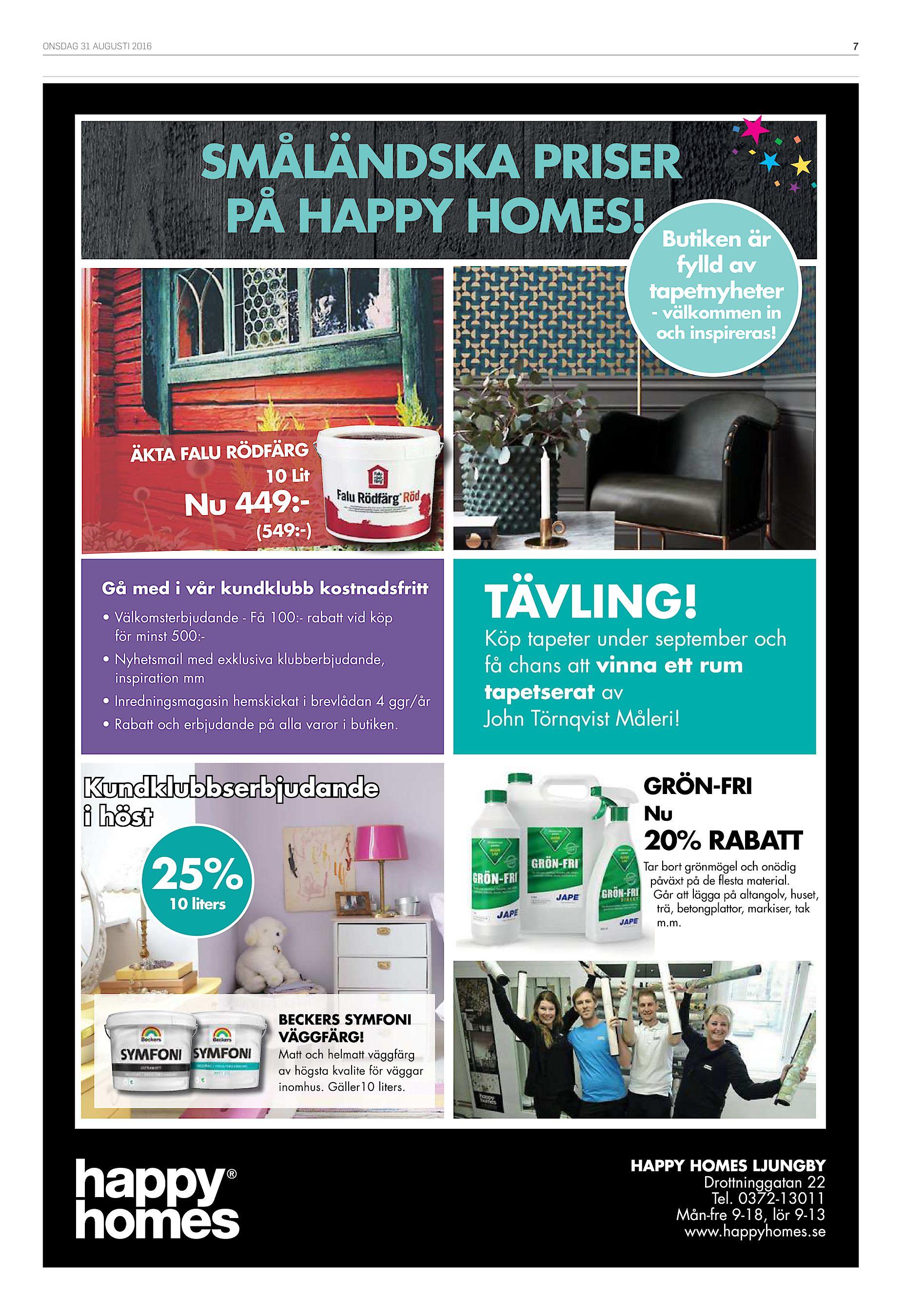 online store 9b607 b2ee9 ONSDAG 31 AUGUSTI 2016 7 SMÅLÄNDSKA PRISER PÅ HAPPY HOMES! Butiken är fylld  av tapetnyheter - välkommen in och inspireras! ÄKTA FALU RÖDFÄRG 10 Lit Nu  449 - ...