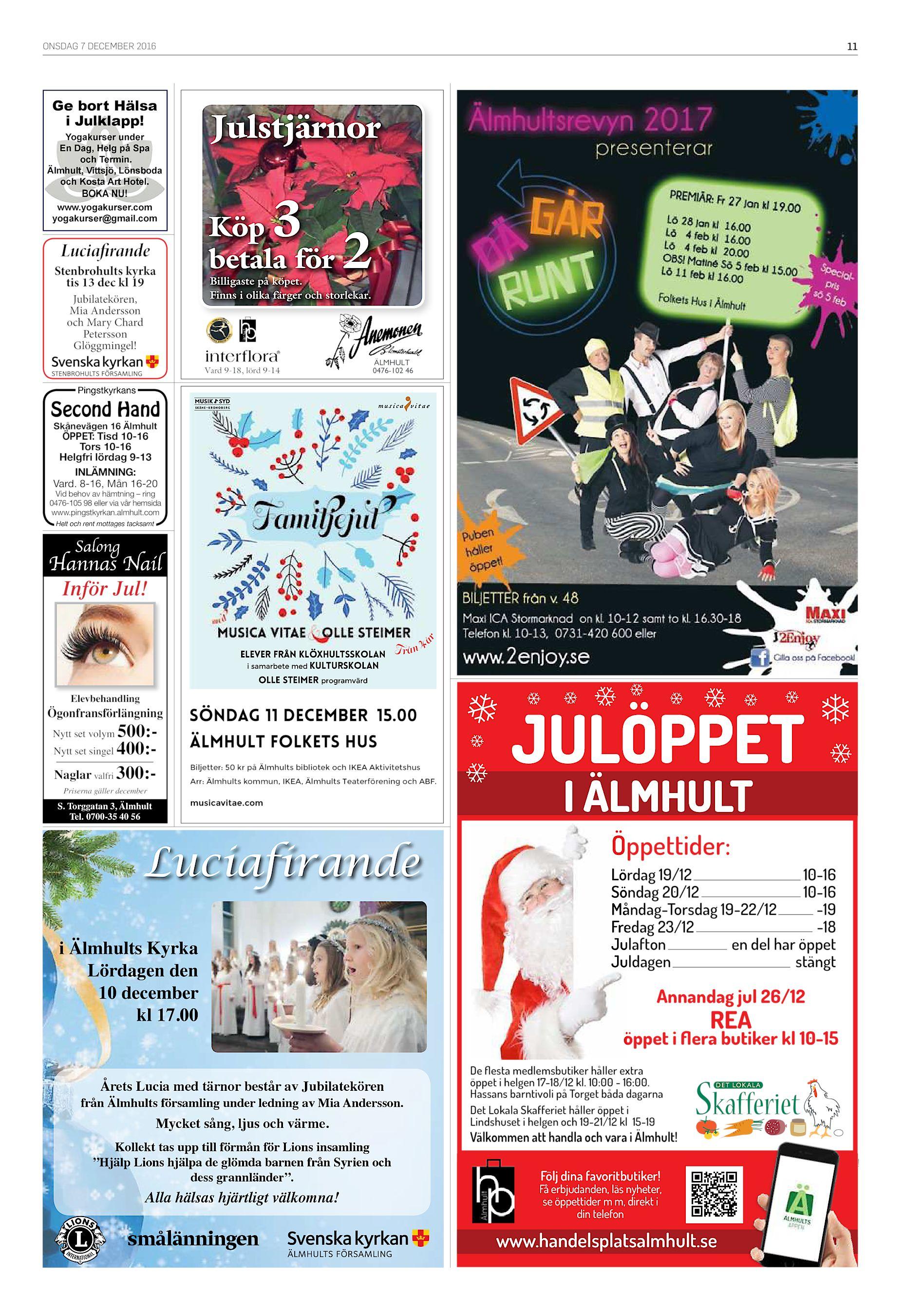 fd6462aeba8a ONSDAG 7 DECEMBER 2016 11 Ge bort Hälsa i Julklapp! Julstjärnor Yogakurser  under En Dag, Helg på Spa och Termin. Älmhult, Vittsjö, Lönsboda och Kosta  Art ...