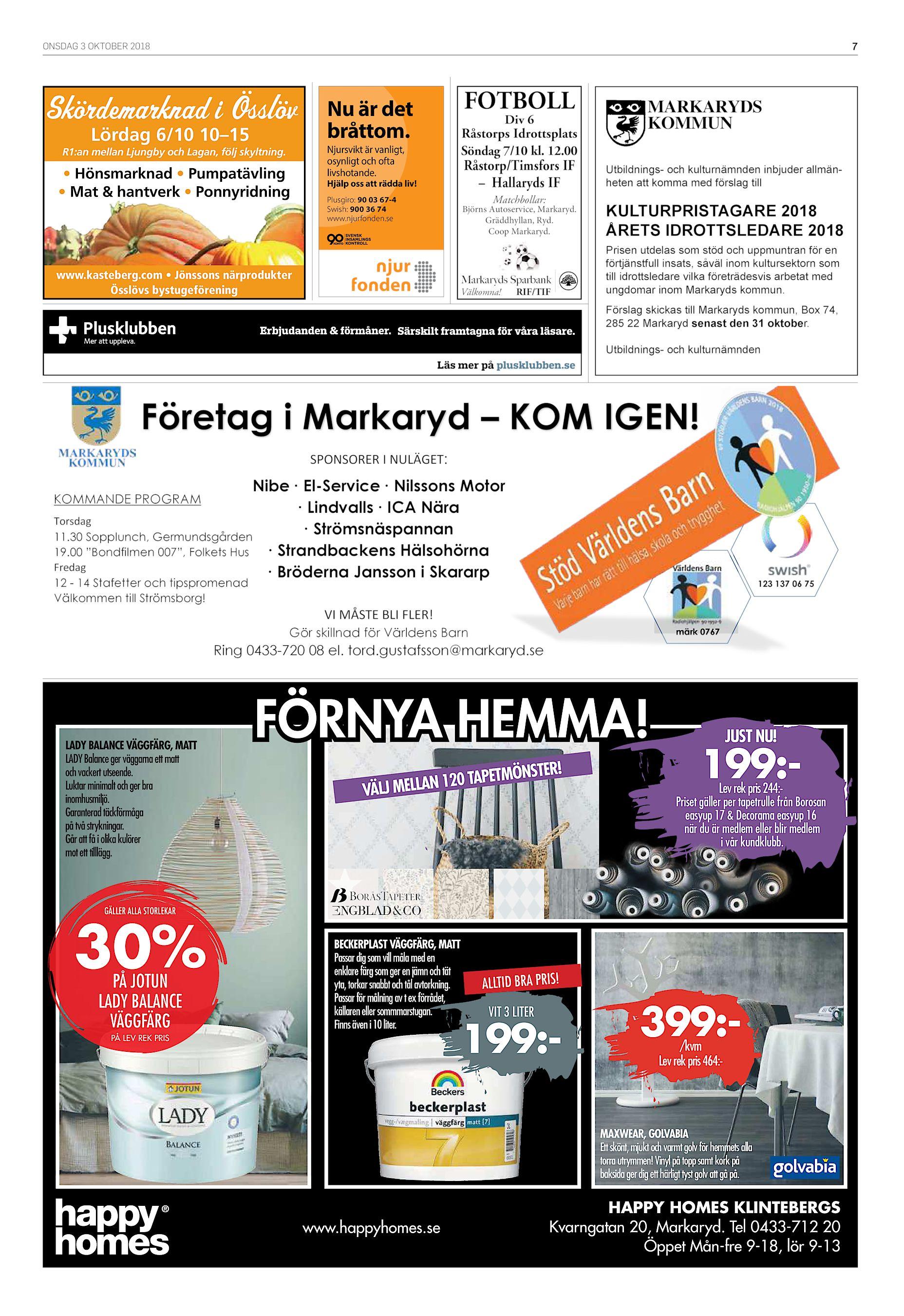 ONSDAG 3 OKTOBER 2018 7 Skördemarknad i Össlöv Lördag 6 10 10–15 R1 an  mellan Ljungby och Lagan 5e05db3acef90