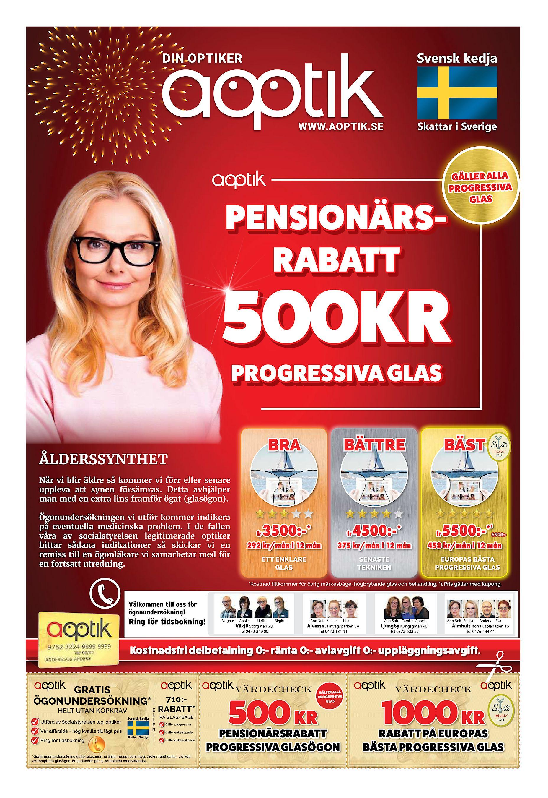 SE PENSIONÄRSRABATT GÄLLER ALLA PROGRESSIVA GLAS 500KR PROGRESSIVA GLAS BRA  ÅLDERSSYNTHET BÄTTRE BÄST Intuitiv TM När vi blir äldre så kommer vi förr  ... abaa7be0ea65f