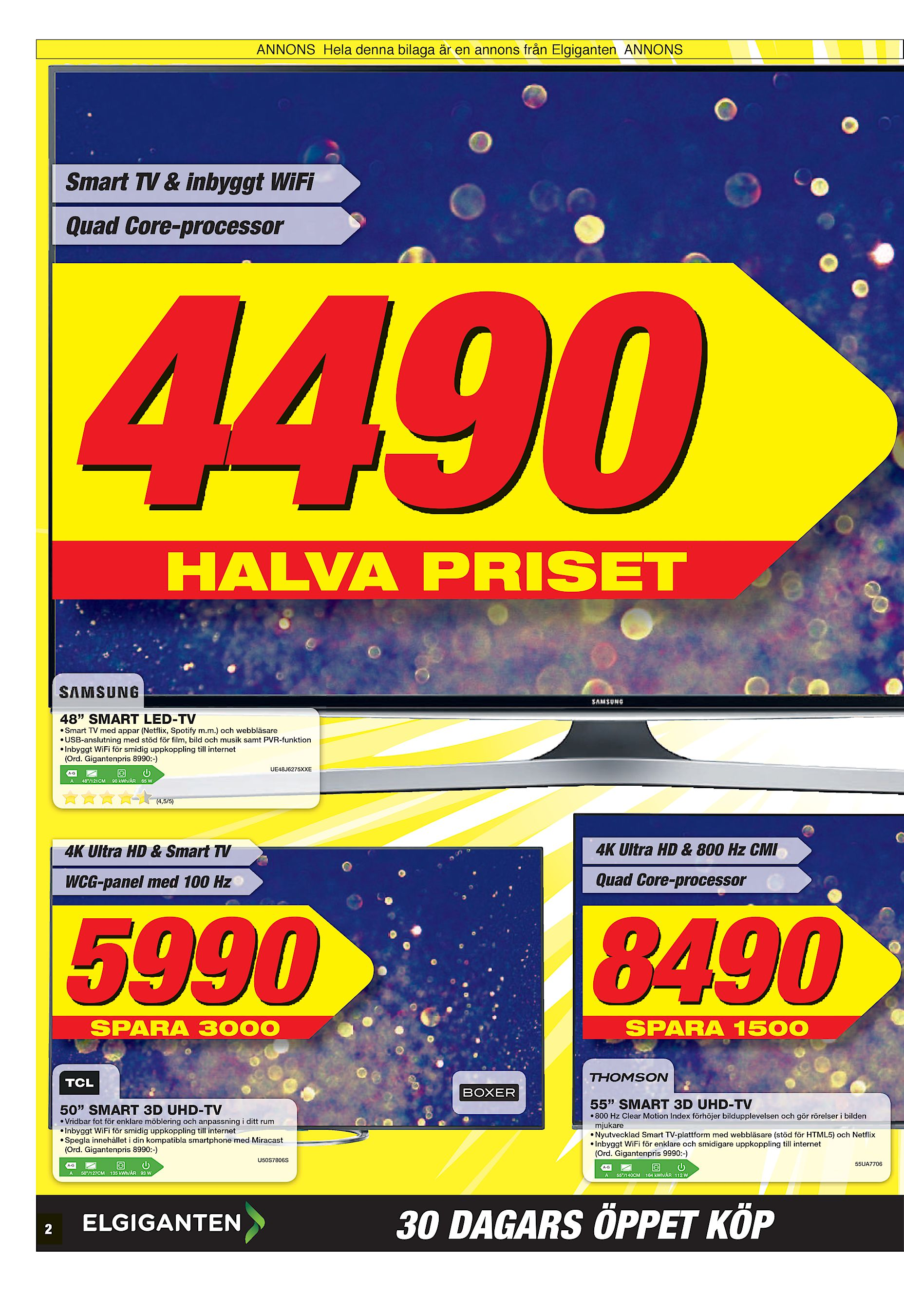 """ANNONS Hela denna bilaga är en annons från Elgiganten ANNONS Smart TV    inbyggt WiFi Quad Core-processor 4490 HALVA PRISET 48"""" SMART LED-TV • Smart  TV med ... 4e433dd2b513f"""