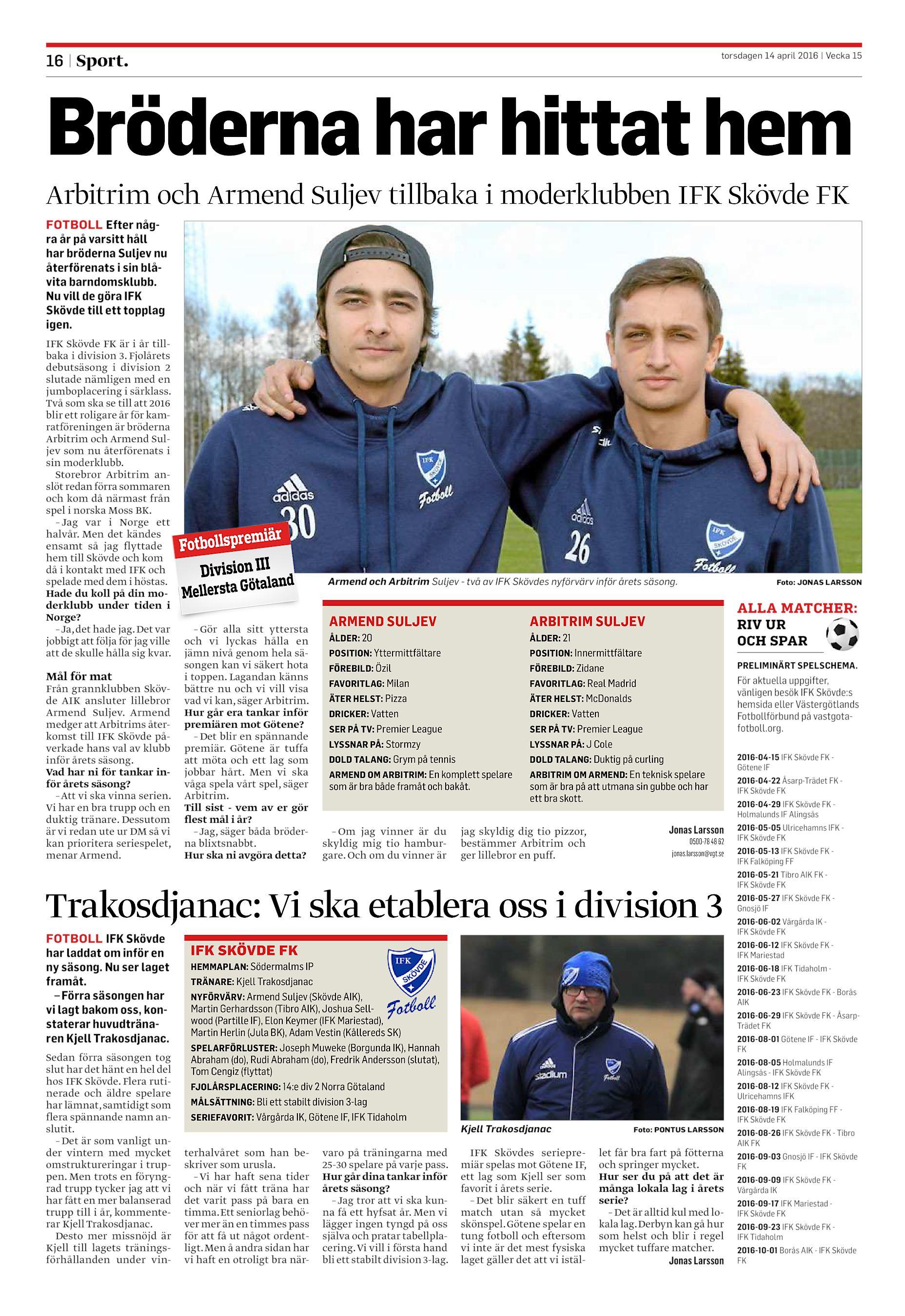 1b819d1999d4 Bröderna har hittat hem Arbitrim och Armend Suljev tillbaka i moderklubben  IFK Skövde FK FOTBOLL Efter några år på varsitt håll har ...