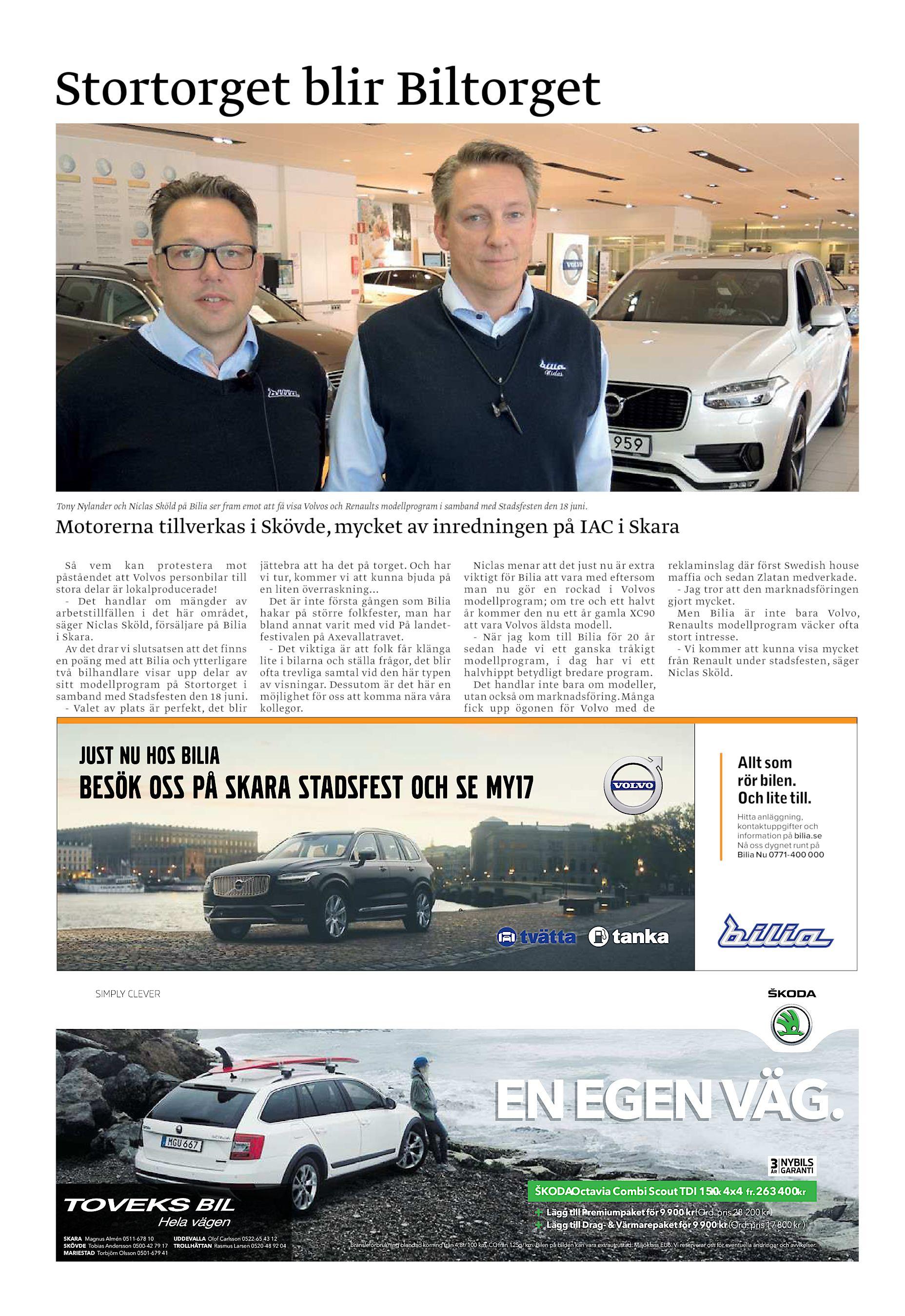 Stortorget blir Biltorget Tony Nylander och Niclas Sköld på Bilia ser fram  emot att få visa Volvos och Renaults modellprogram i samband med  Stadsfesten den ... 10cad33b52435