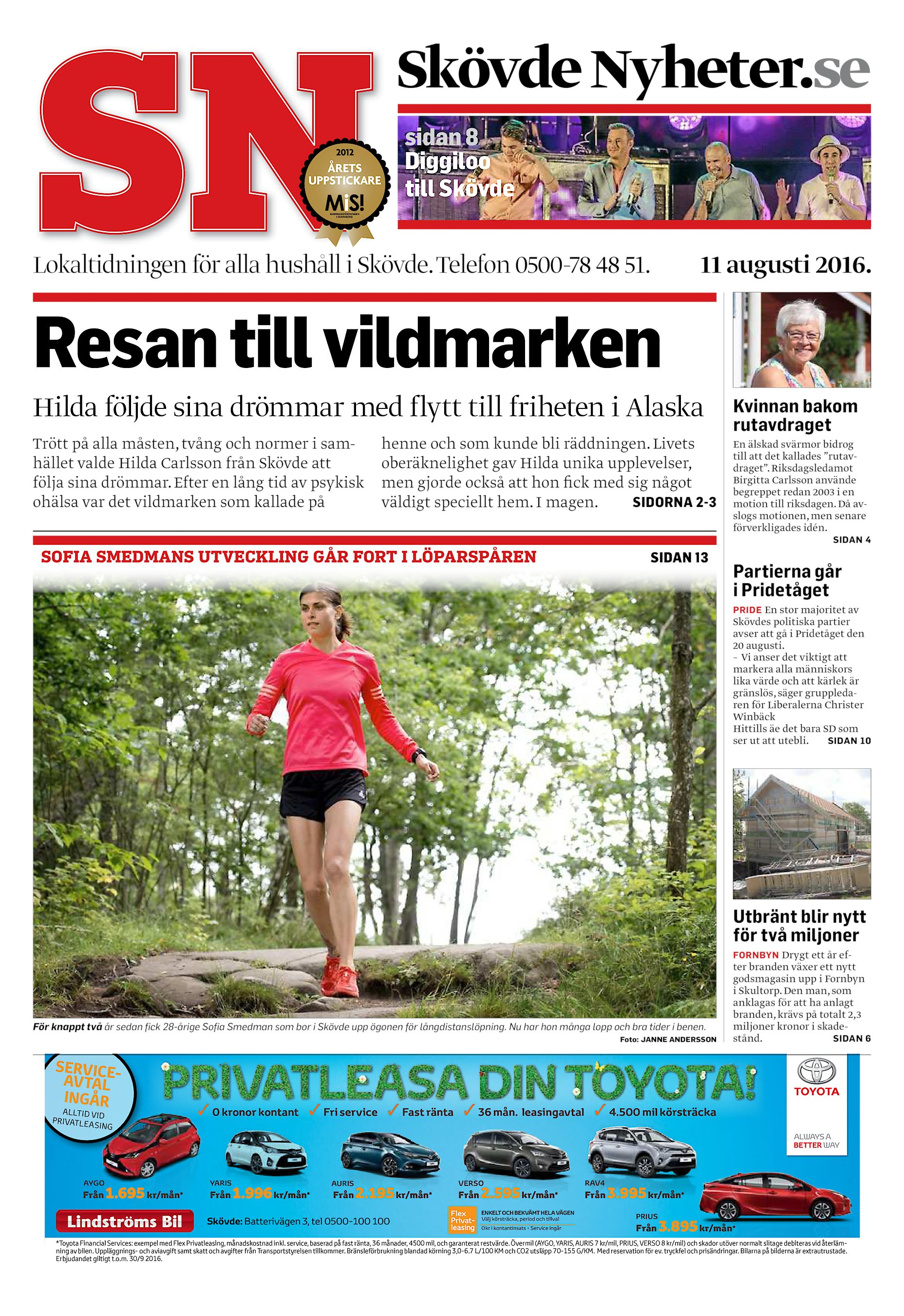 Skövde Nyheter.se sidan 8 Diggiloo till Skövde Lokaltidningen för alla  hushåll i Skövde. Telefon 0500-78 48 51. 11 augusti 2016. Resan till  vildmarken Hilda ... ab0ff3c0f1057