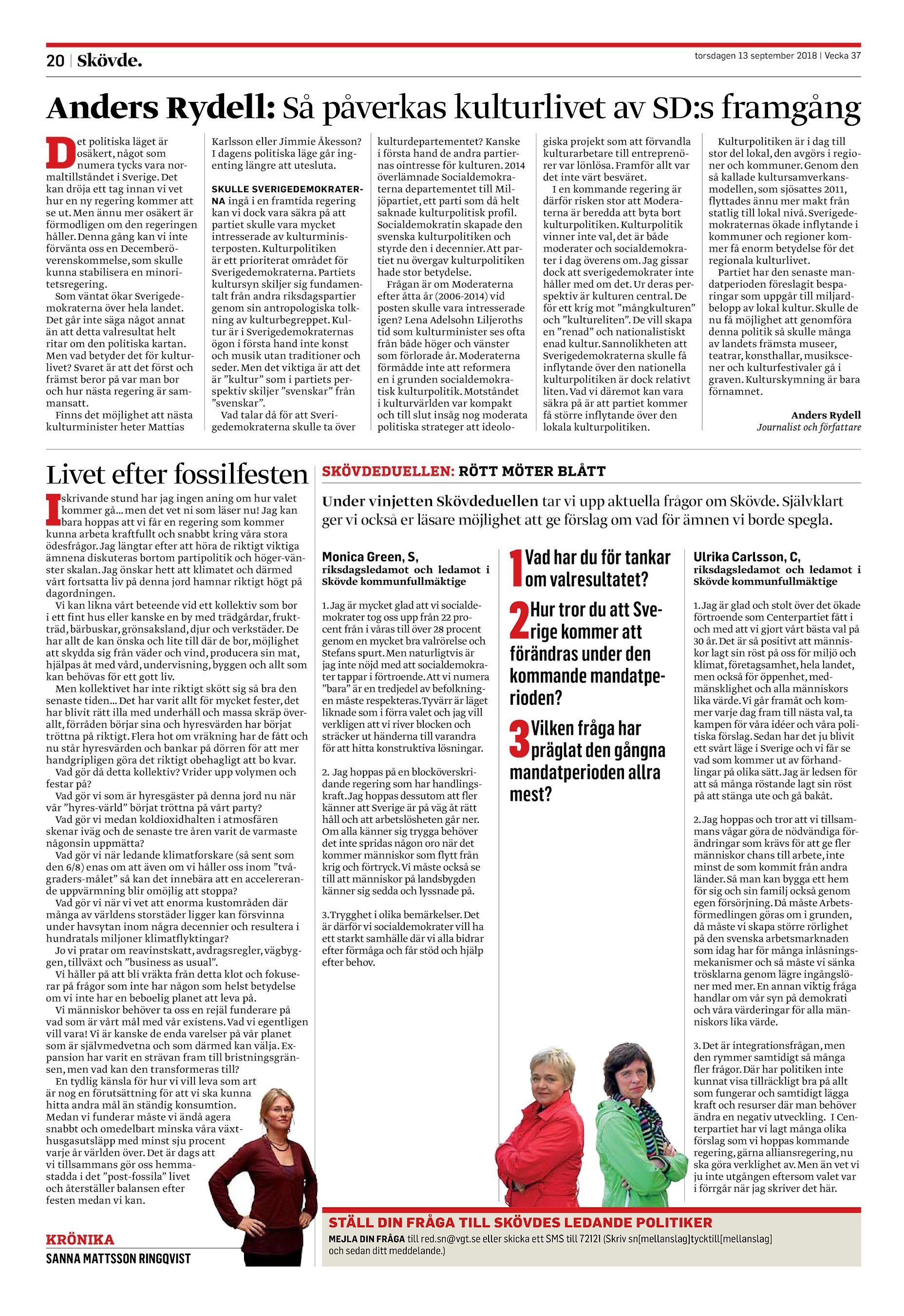 the latest ffcd1 00b6d Anders Rydell  Så påverkas kulturlivet av SD s framgång et politiska läget  är osäkert, något som numera tycks vara normaltillståndet i Sverige.