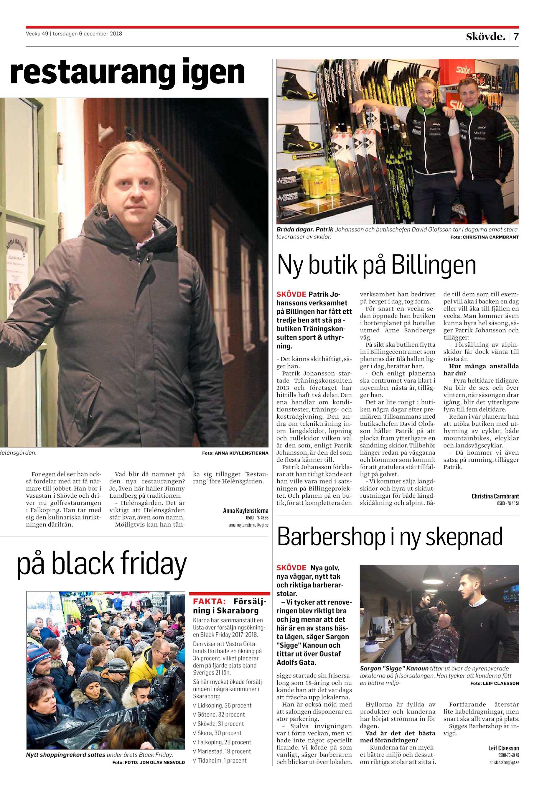 7 restaurang igen Bråda dagar. Patrik Johansson och butikschefen David  Olofsson tar i dagarna emot stora leveranser av skidor. Foto  CHRISTINA  CARMBRANT Ny ... e31bb91445c91