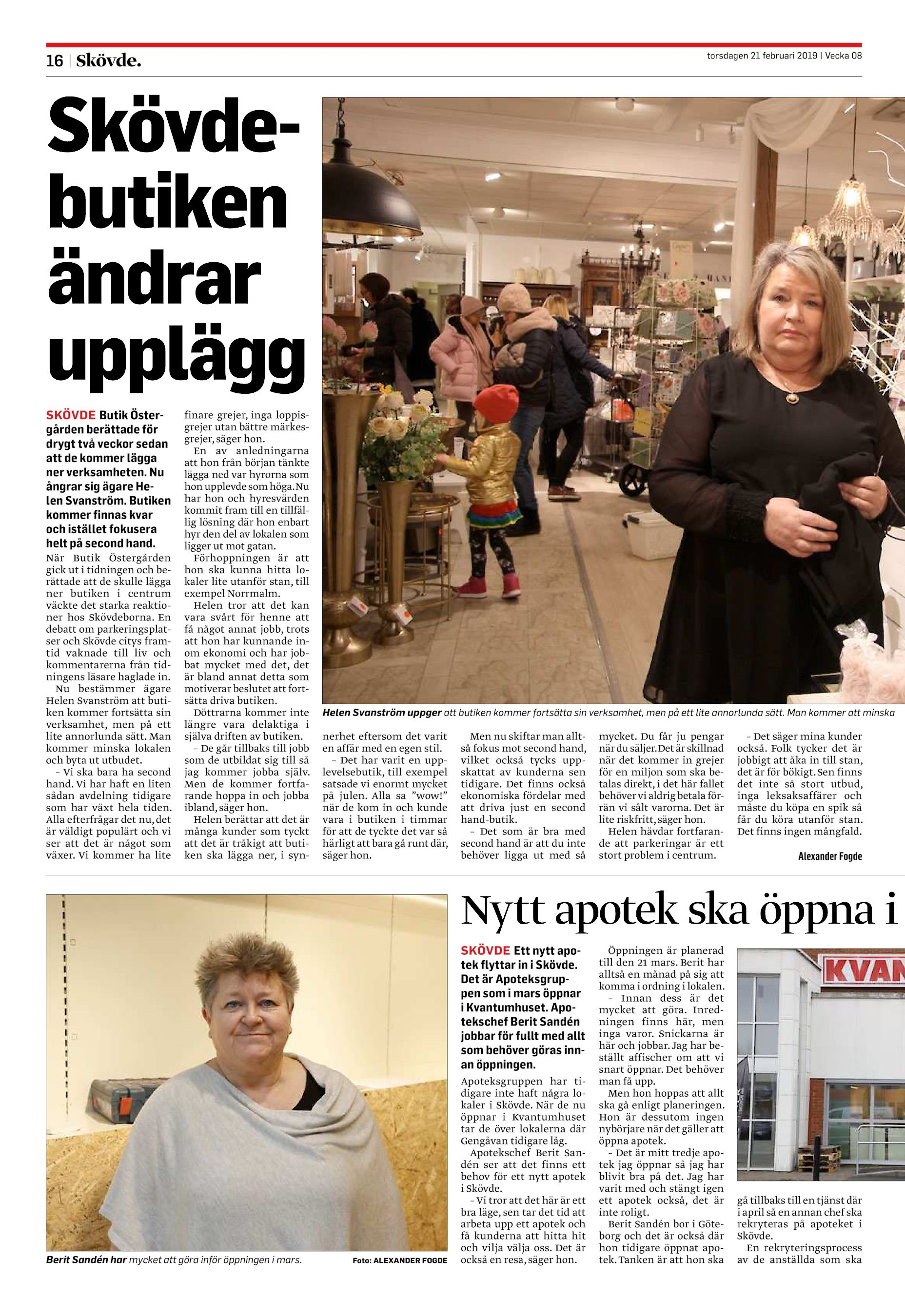 1481896024c Skövdebutiken ändrar upplägg SKÖVDE Butik Östergården berättade för drygt  två veckor sedan att de kommer lägga ner verksamheten.