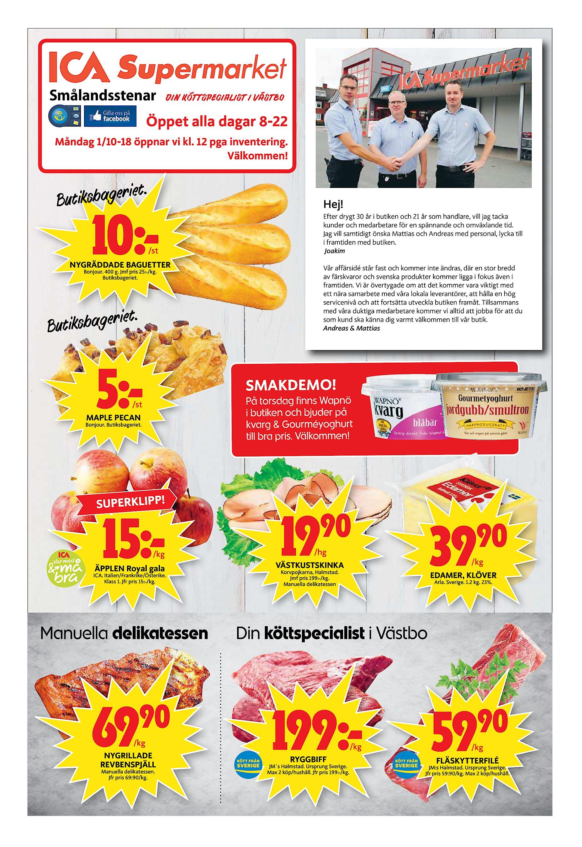 Smålandsstenar Din Köttspecialist I Västbo Öppet alla dagar 8-22 Måndag  1 10-18 öppnar vi kl. 12 pga inventering. Välkommen! et. utiksbageri B Hej! 626af5ef59882