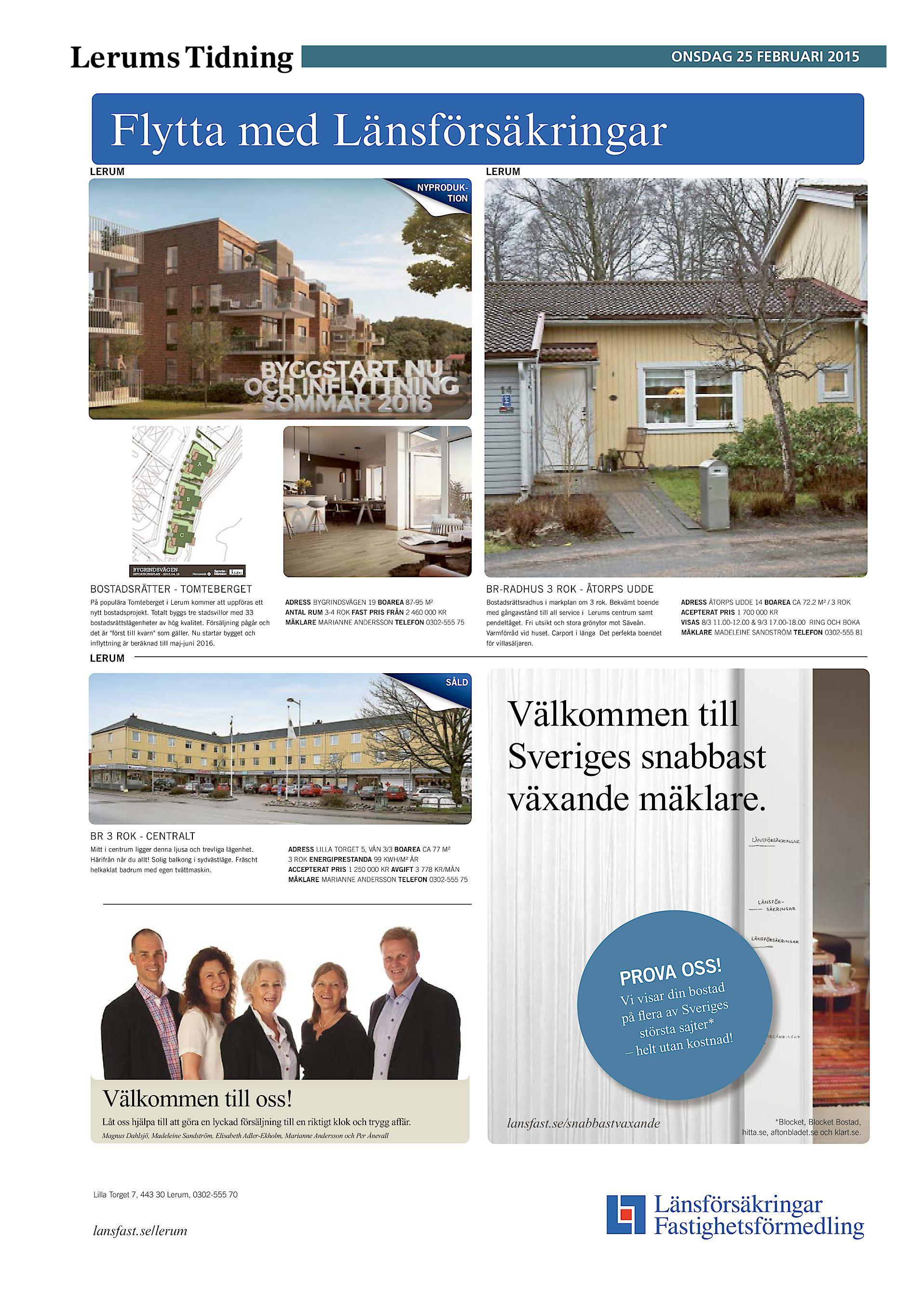 Lerums Tidning onsdag 25 februari 2015 Flytta med Länsförsäkringar LERUM  LERUM NYPRODUKTION A B C BYGRINDSVÄGEN SITUATIONSPLAN - 2013.04.18  BOSTADSRÄTTER ... a08901b336230