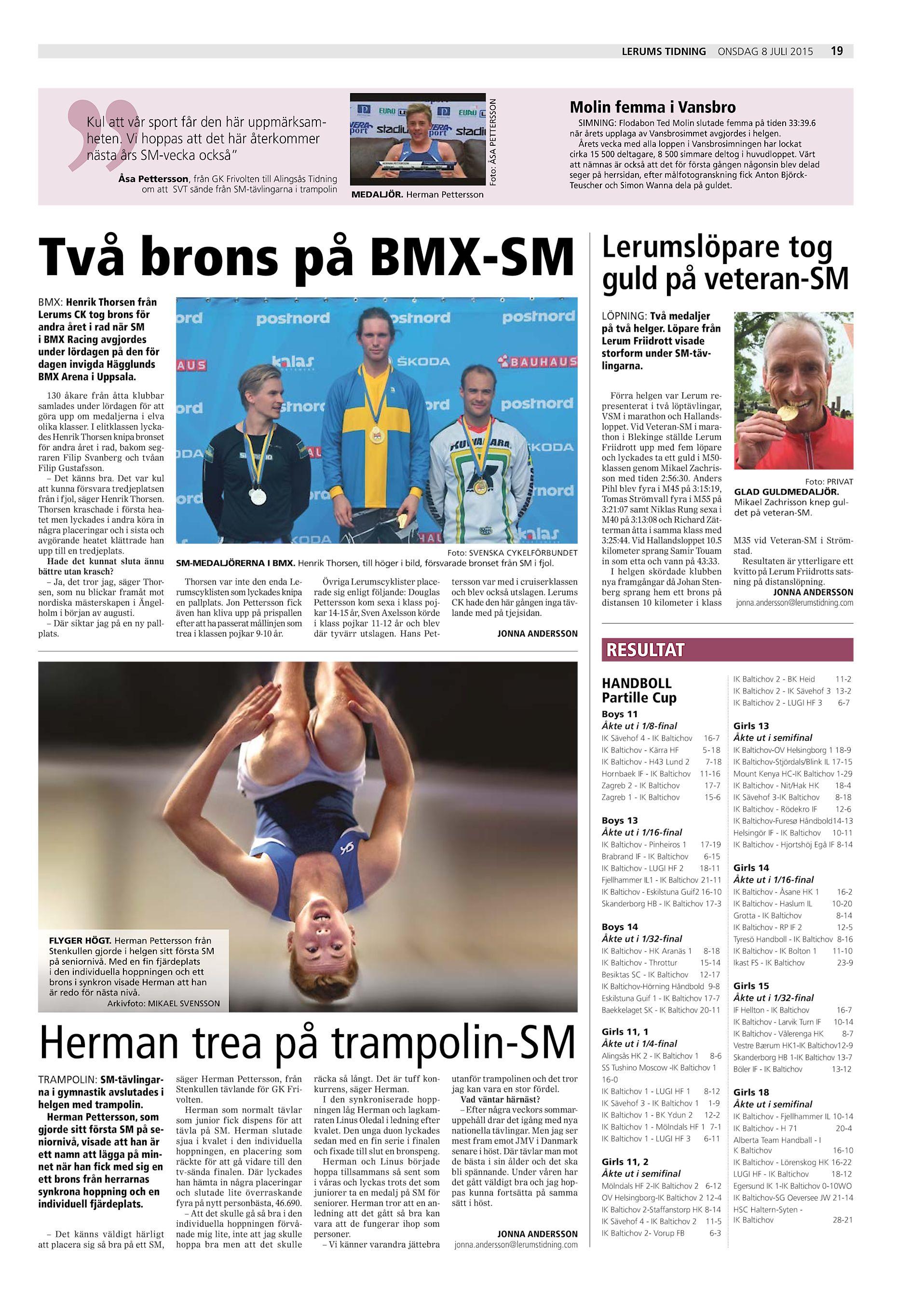 """Foto  ÅSA PETTERSSON LERUMS TIDNING Kul att vår sport får den här  uppmärksamheten. Vi hoppas att det här återkommer nästa års SM-vecka också""""  Åsa Pettersson ... 9e775167ca451"""