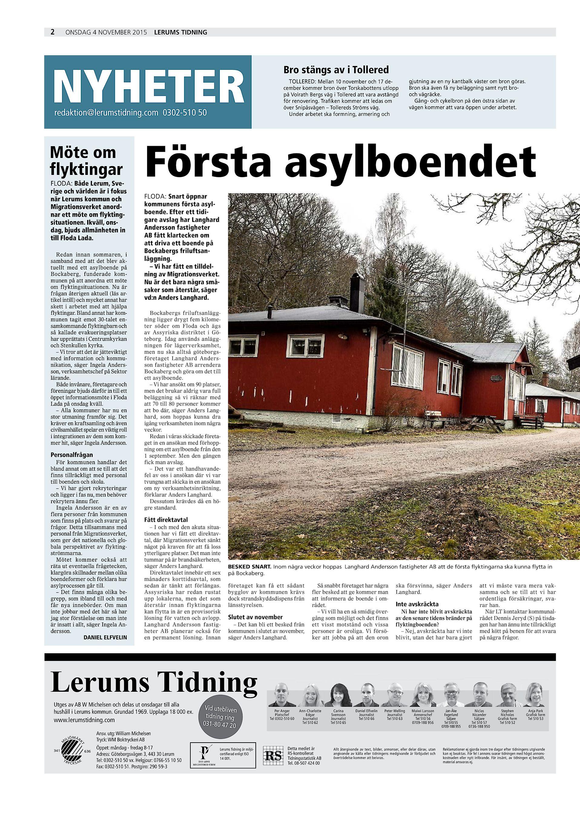 fecb8d0a03ad 2 onsdag 4 november 2015 Lerums Tidning NYHETER Bro stängs av i Tollered  TOLLERED: Mellan 10 november och 17 december kommer bron över Torskabottens  utlopp ...