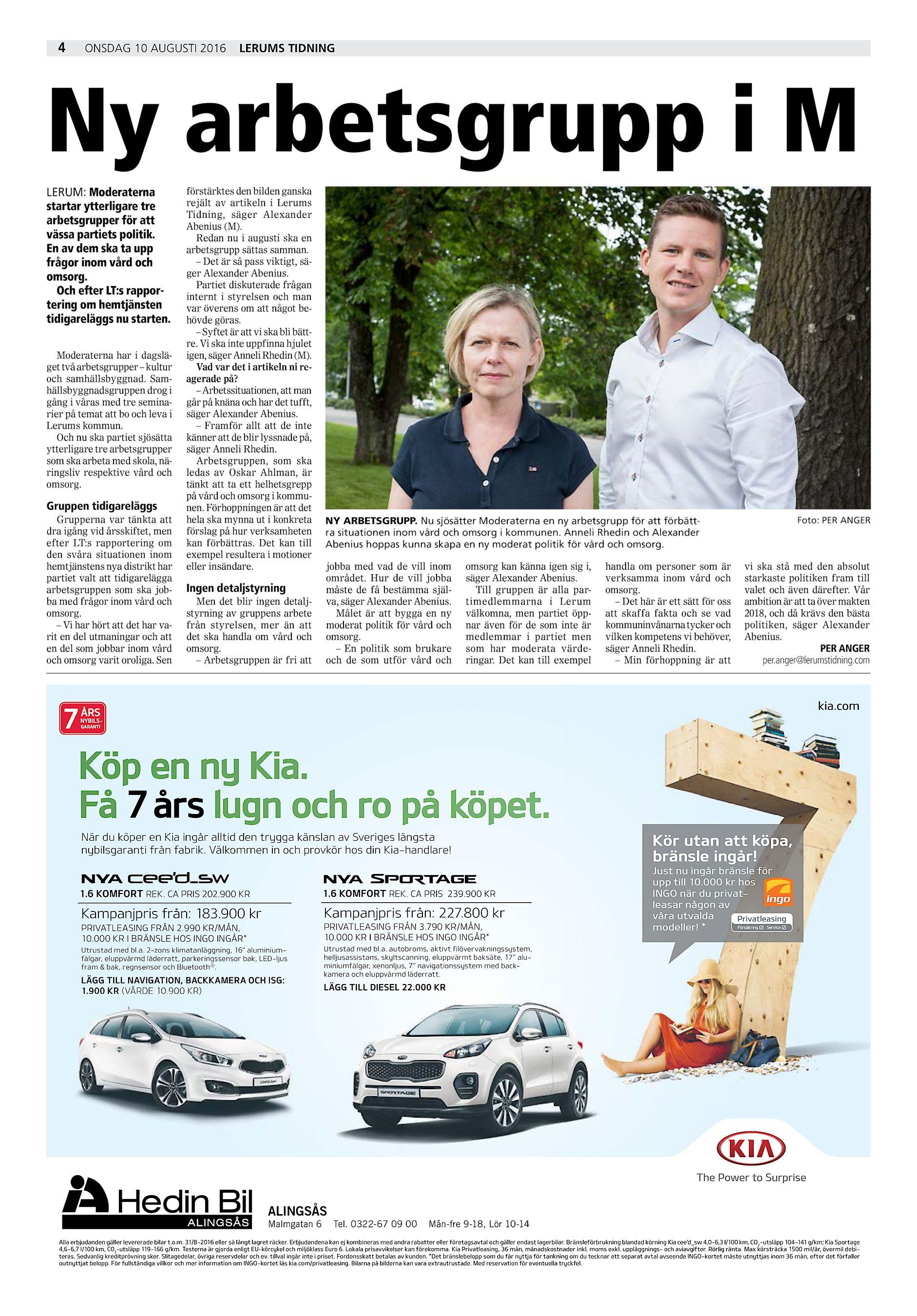 4 onsdag 10 augusti 2016 Lerums Tidning Ny arbetsgrupp i M LERUM   Moderaterna startar ytterligare tre arbetsgrupper för att vässa partiets  politik. 729878572941c