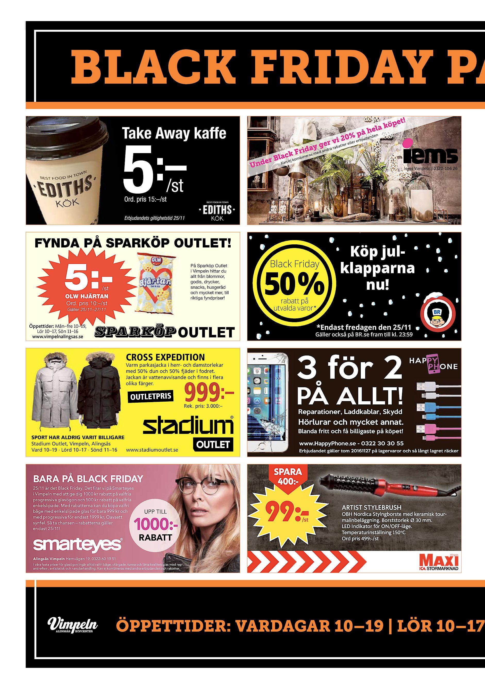 30 Lerums Tidning onsdag 23 november 2016 BLACK FRIDAY PÅ Take Away kaffe   – 5  st pet! la kö å he 0% p danden vi 2 er erbju gedra rabatter ell y ... 085014bebd966