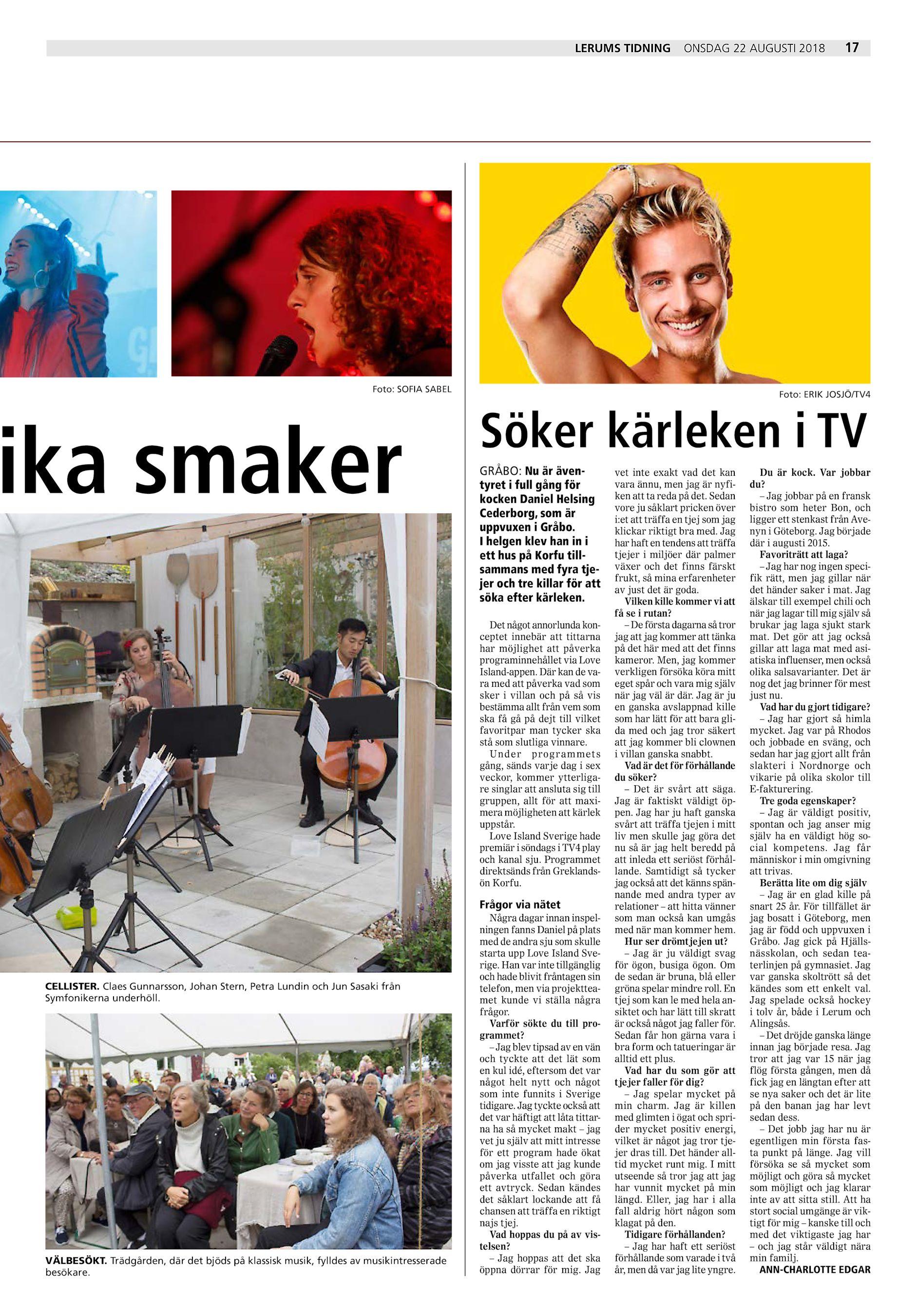 7ad3122821ad Lerums Tidning onsdag 22 augusti 2018 Foto: SOFIA SABEL ika smaker Foto:  ERIK JOSJÖ/TV4 Söker kärleken i TV GRÅBO: Nu är äventyret i full gång för  kocken ...
