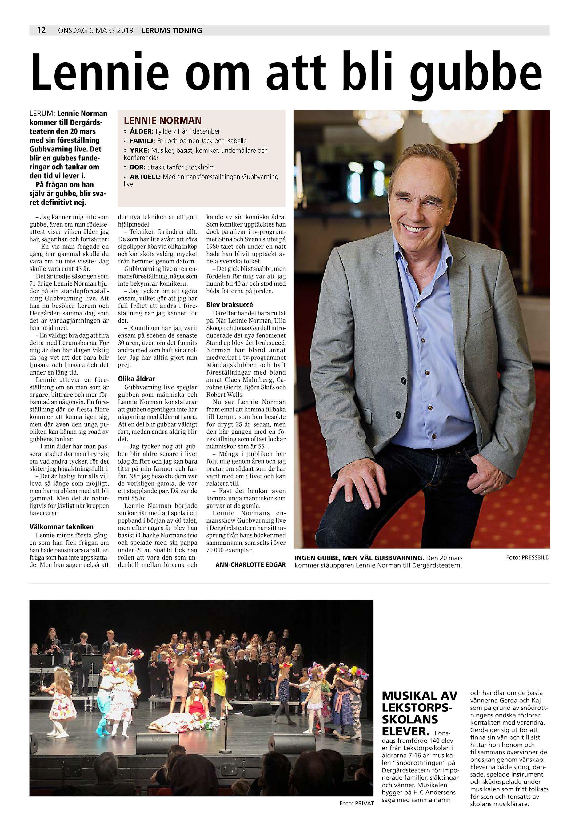 fe3f9c7d0 12 onsdag 6 mars 2019 Lerums Tidning Lennie om att bli gubbe LERUM: Lennie  Norman kommer till Dergårdsteatern den 20 mars med sin föreställning  Gubbvarning ...
