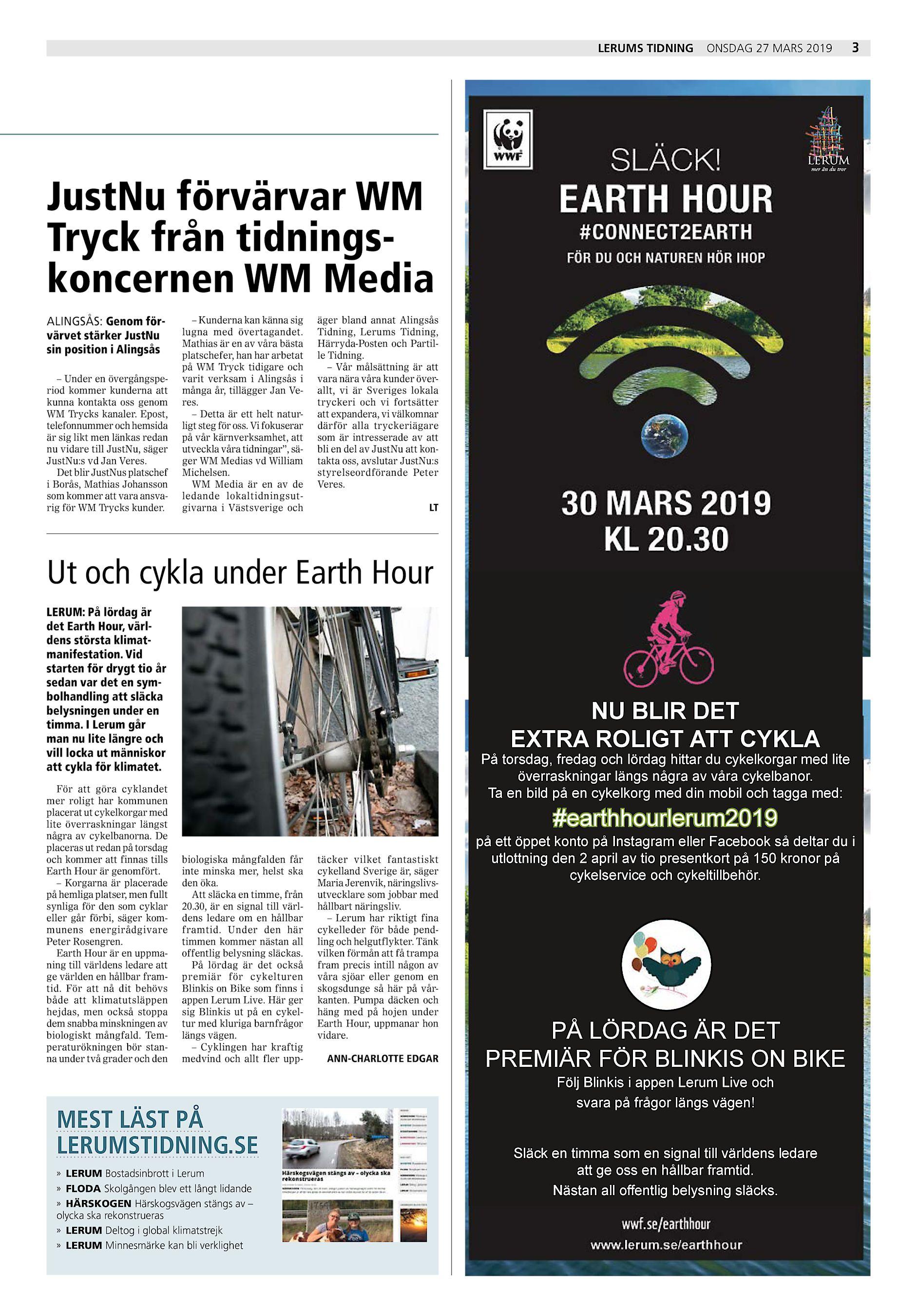 f083c8c9b176 Lerums Tidning onsdag 27 mars 2019 3 JustNu förvärvar WM Tryck från  tidningskoncernen WM Media ALINGSÅS: Genom förvärvet stärker JustNu sin  position i ...