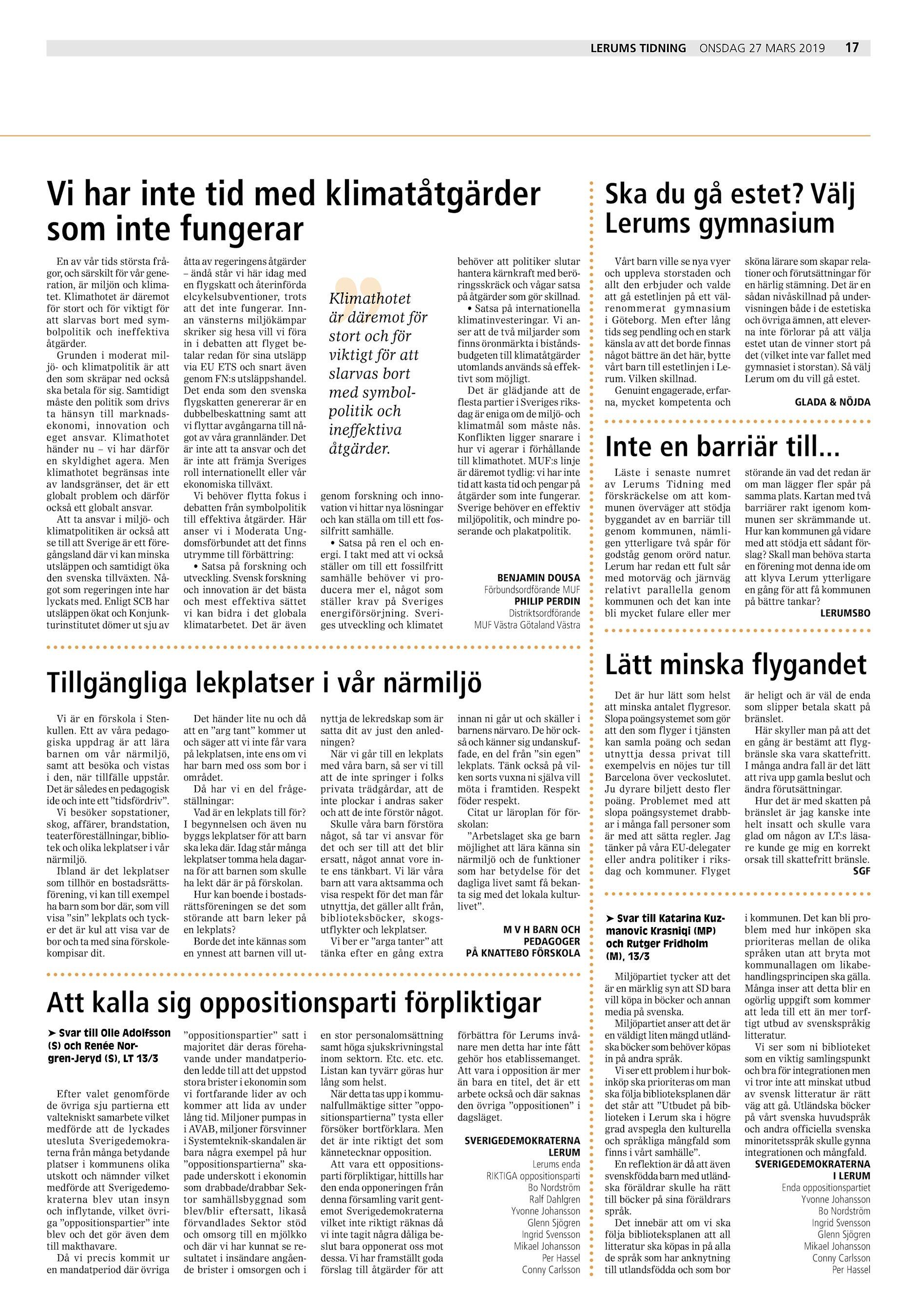d95807e81ecf Lerums Tidning Vi har inte tid med klimatåtgärder som inte fungerar En av  vår tids största frågor, och särskilt för vår generation, är miljön och  klimatet.