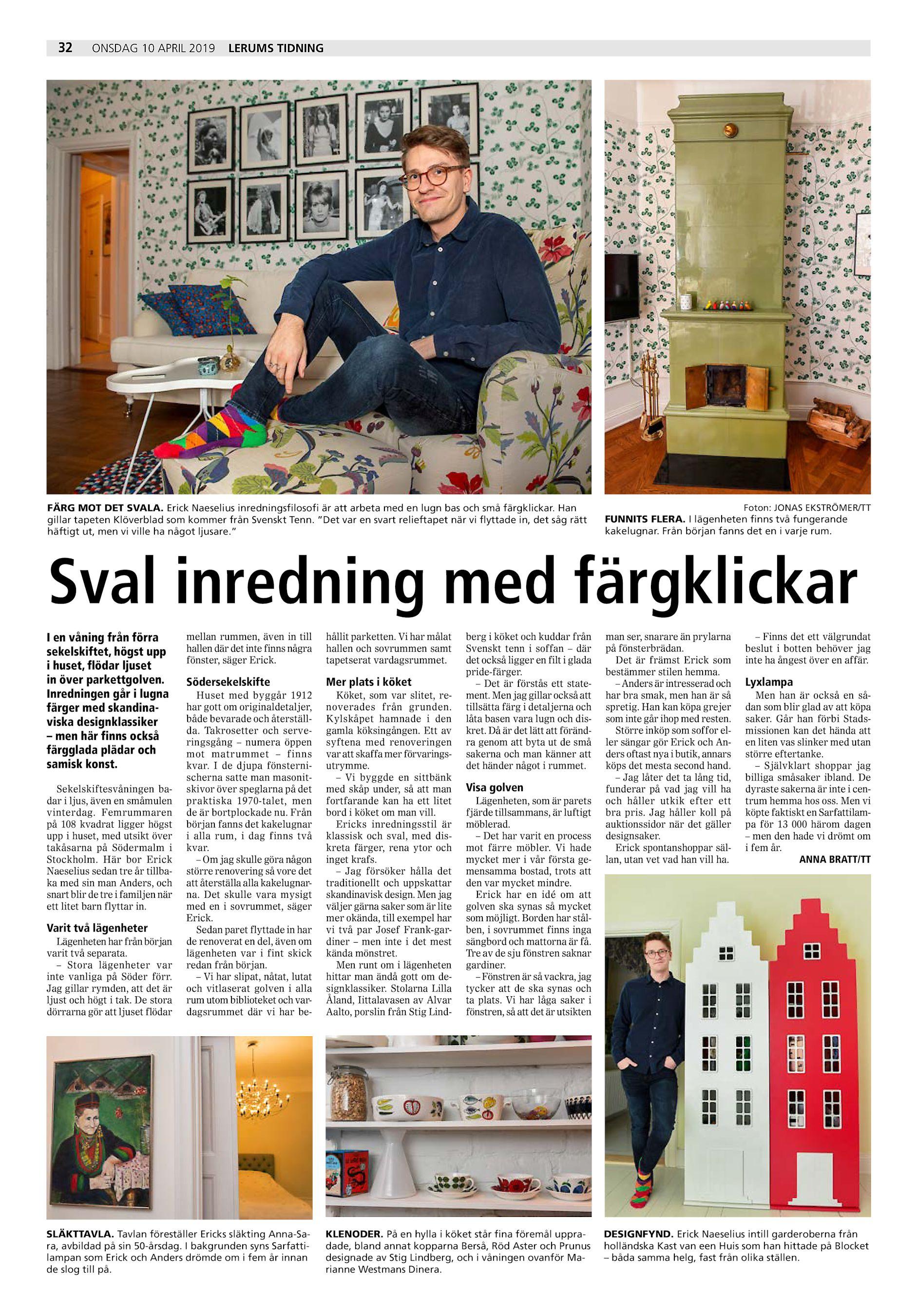 89b4e973fc9 Erick Naeselius inredningsfilosofi är att arbeta med en lugn bas och små  färgklickar. Han gillar tapeten Klöverblad som kommer från Svenskt ...