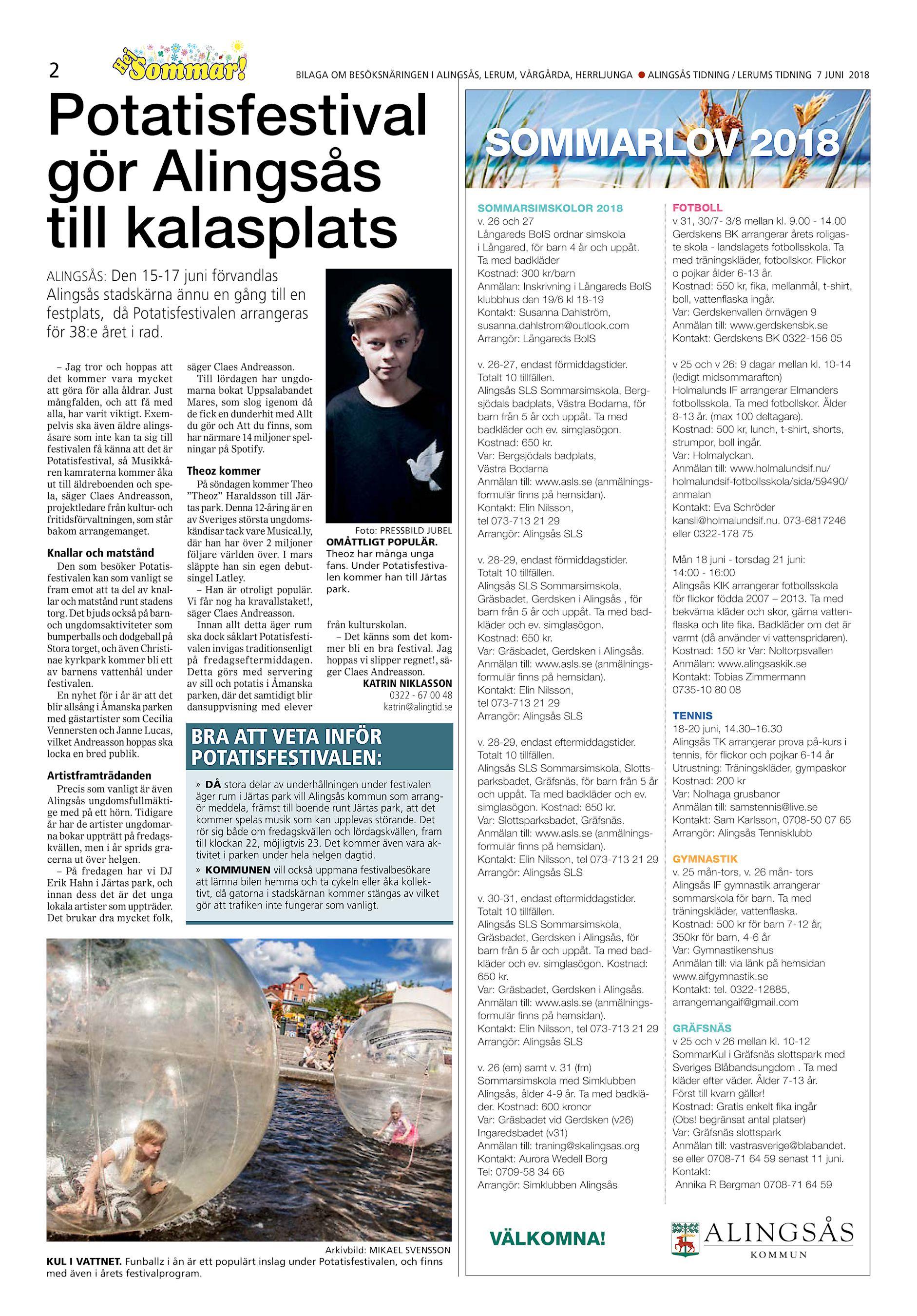 15cffa145ac2 He j 2 BILAGA OM BESÖKSNÄRINGEN I ALINGSÅS, LERUM, VÅRGÅRDA, HERRLJUNGA l  ALINGSÅS TIDNING / LERUMS TIDNING 7 JUNI 2018 Potatisfestival gör Alingsås  till ...